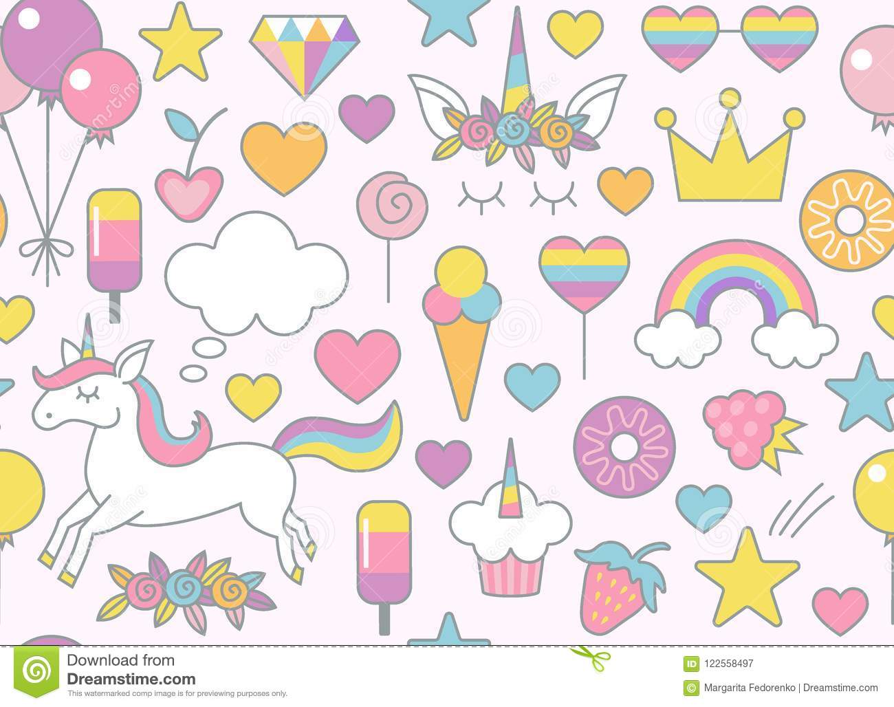 Unicorn rainbow sweets and other objects seamless pattern with light pink background