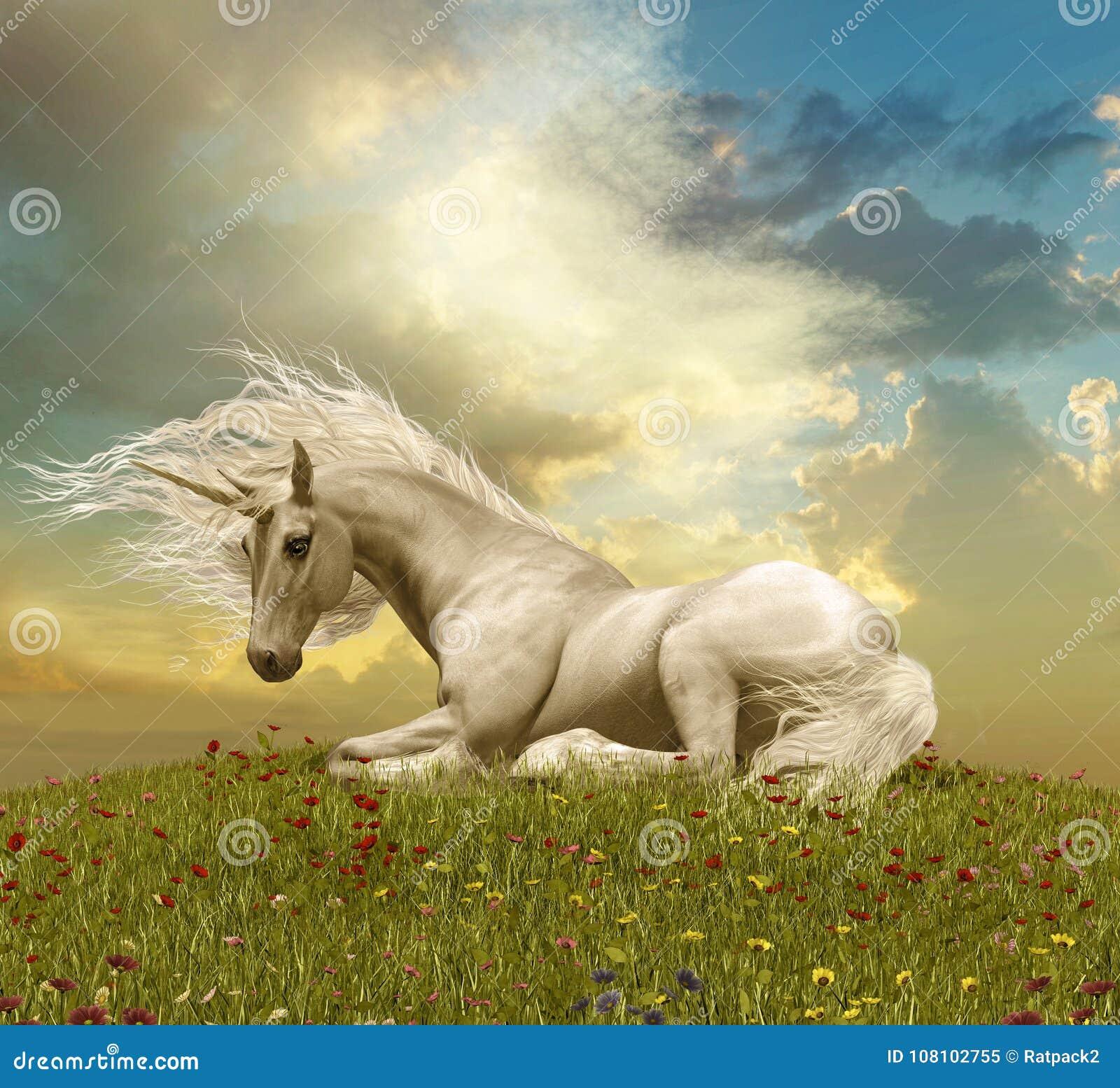 Unicorn Resting During blanc enchanteur un coucher du soleil