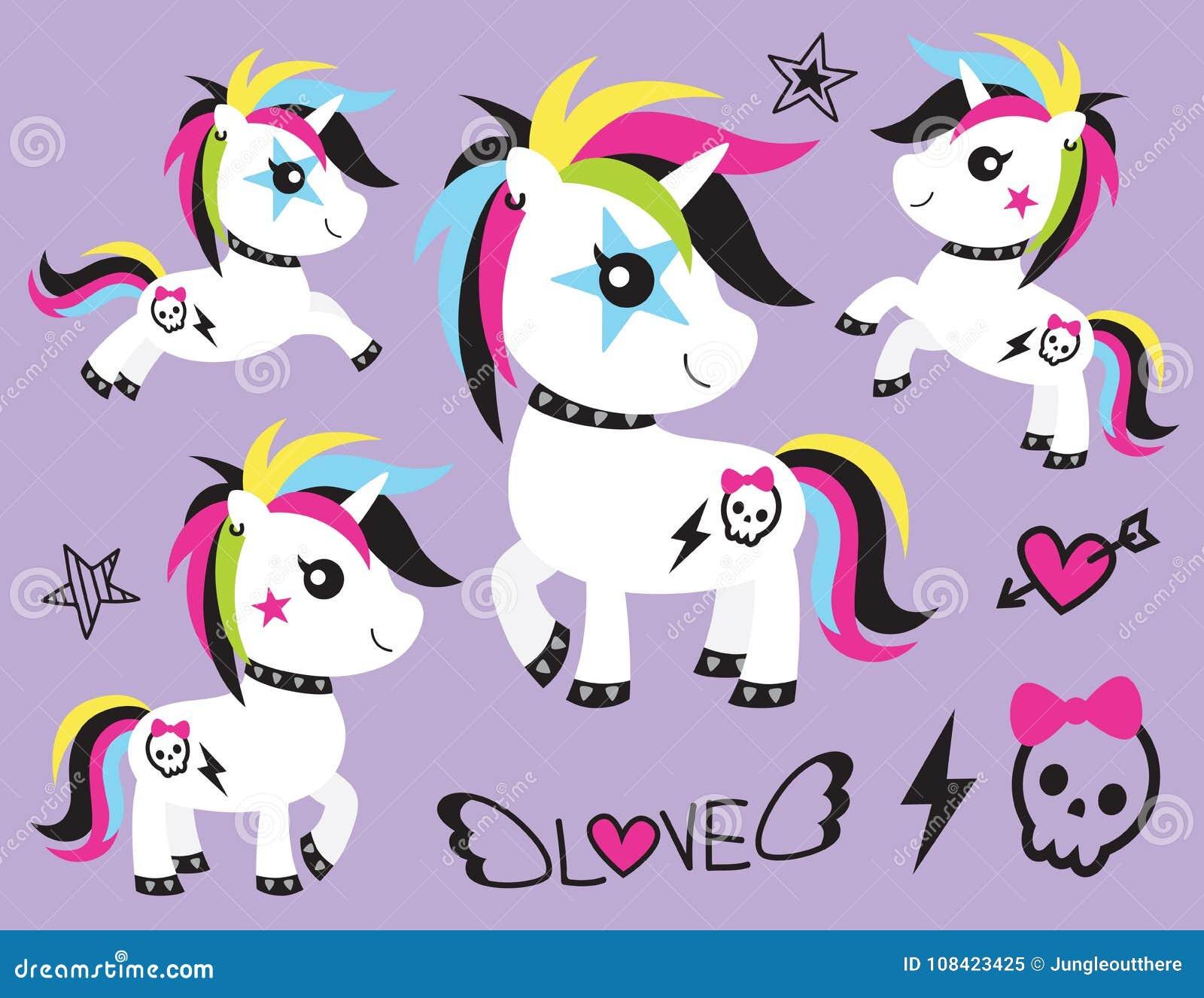 Unicorn Rocker Vector Illustration punk