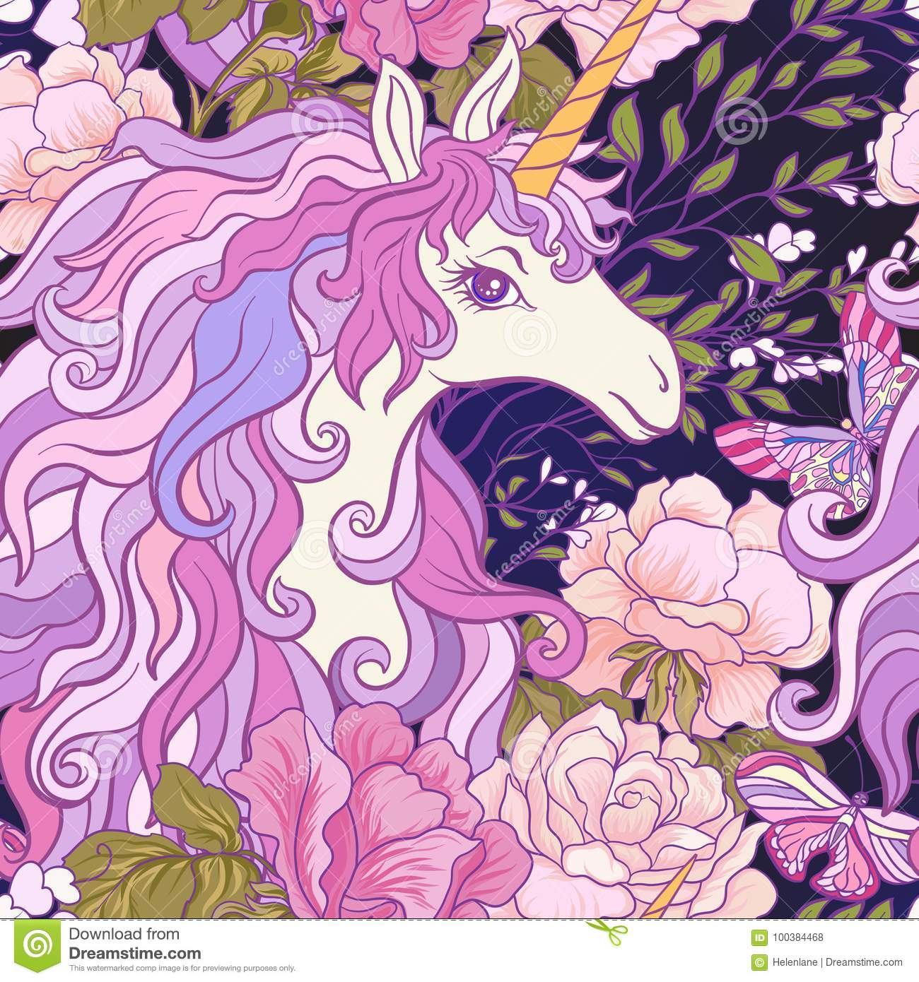 The Unicorn Roses And Butterflies Seamless Pattern In Pink Pur