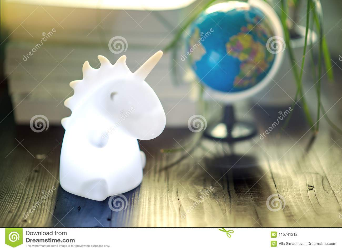 Unicorn Shape Table Lamp Illuminated Stock Photo Image Of Desk