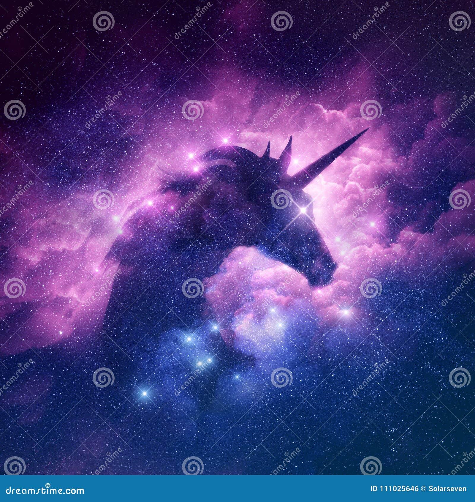 Download Unicorn Nebula Background stock illustration. Illustration of mythic - 111025646