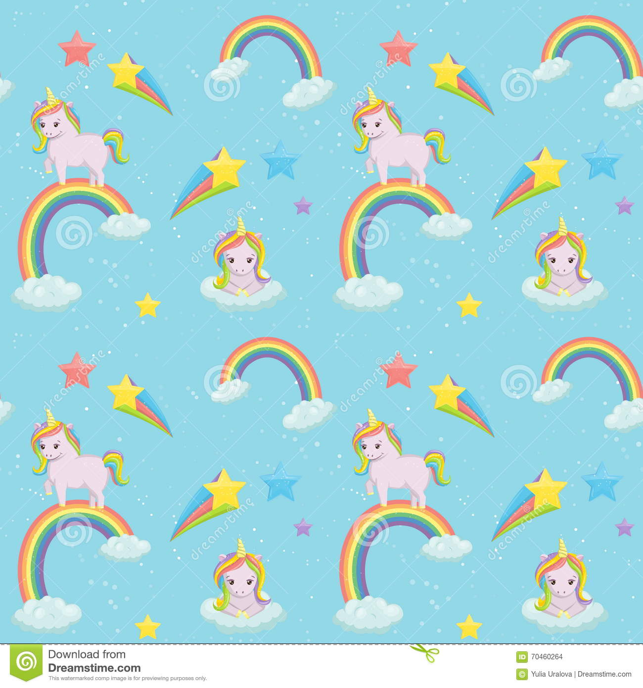 Unicorn Themed Seamless Vector Pattern. Stock Vector