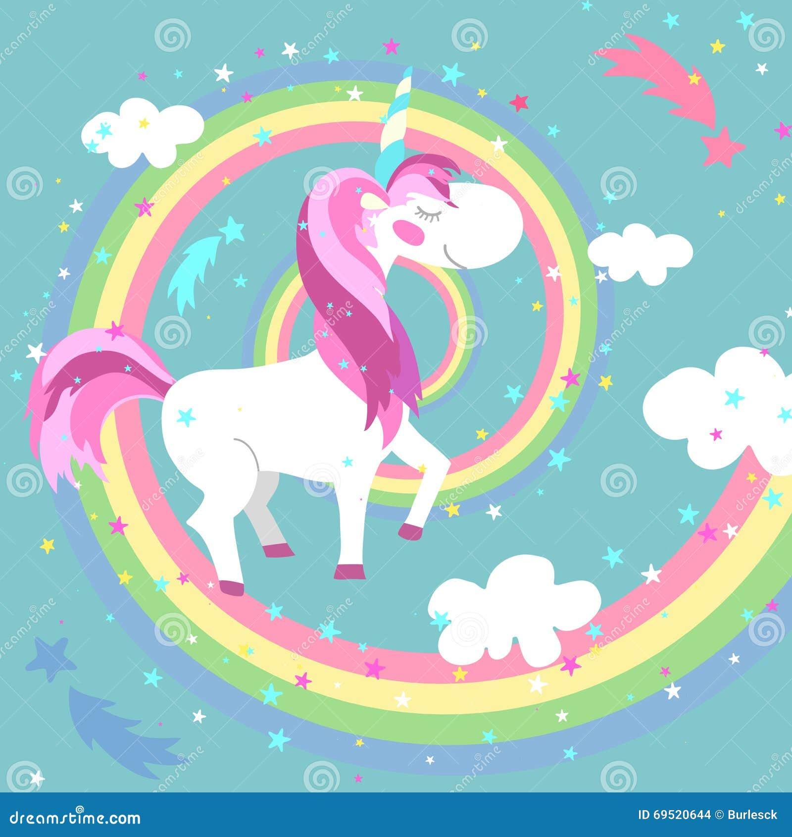 Unicorn Vector Illustration Arco iris coloreado