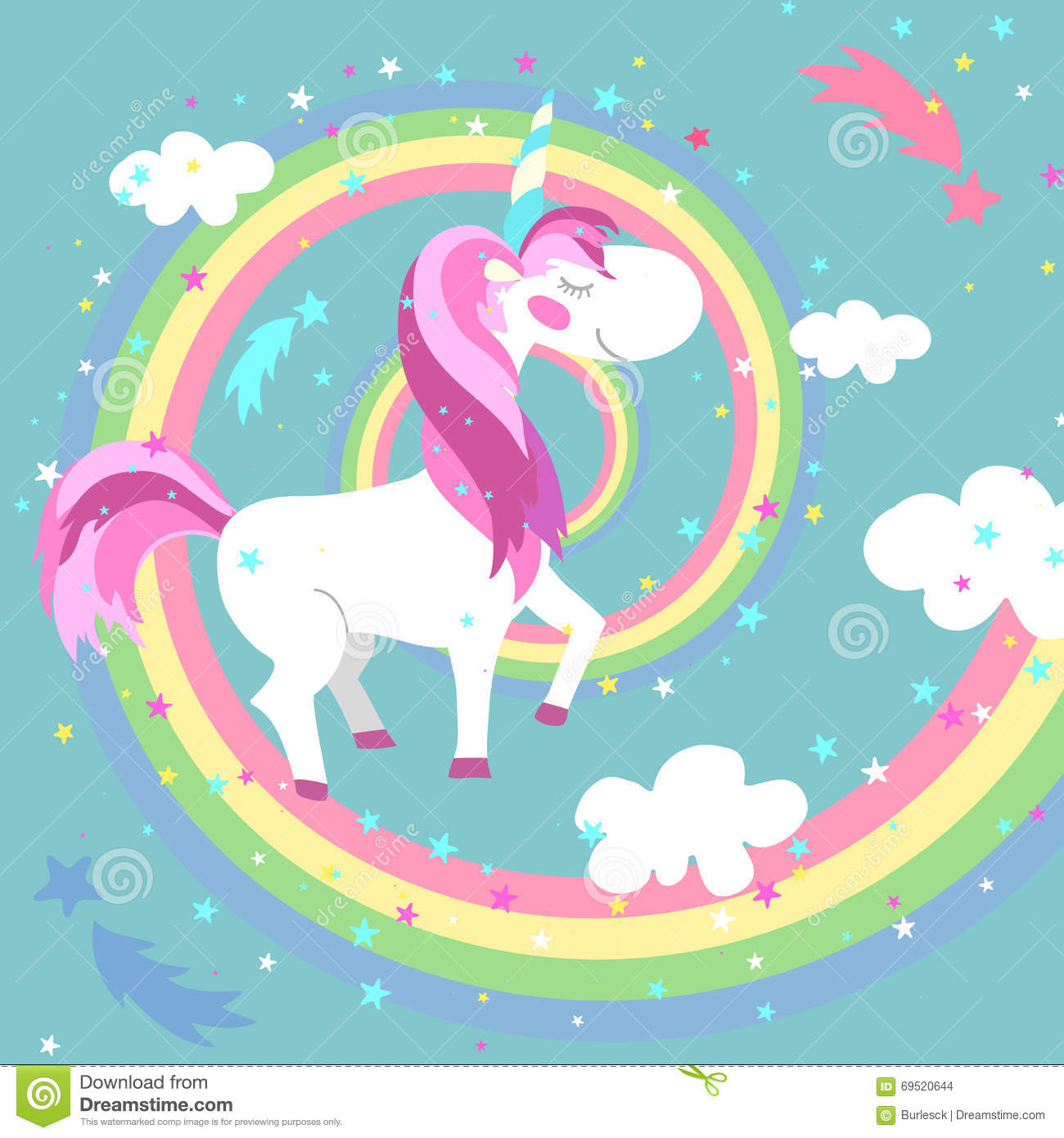 Unicorn Vector Illustration Arcobaleno colorato