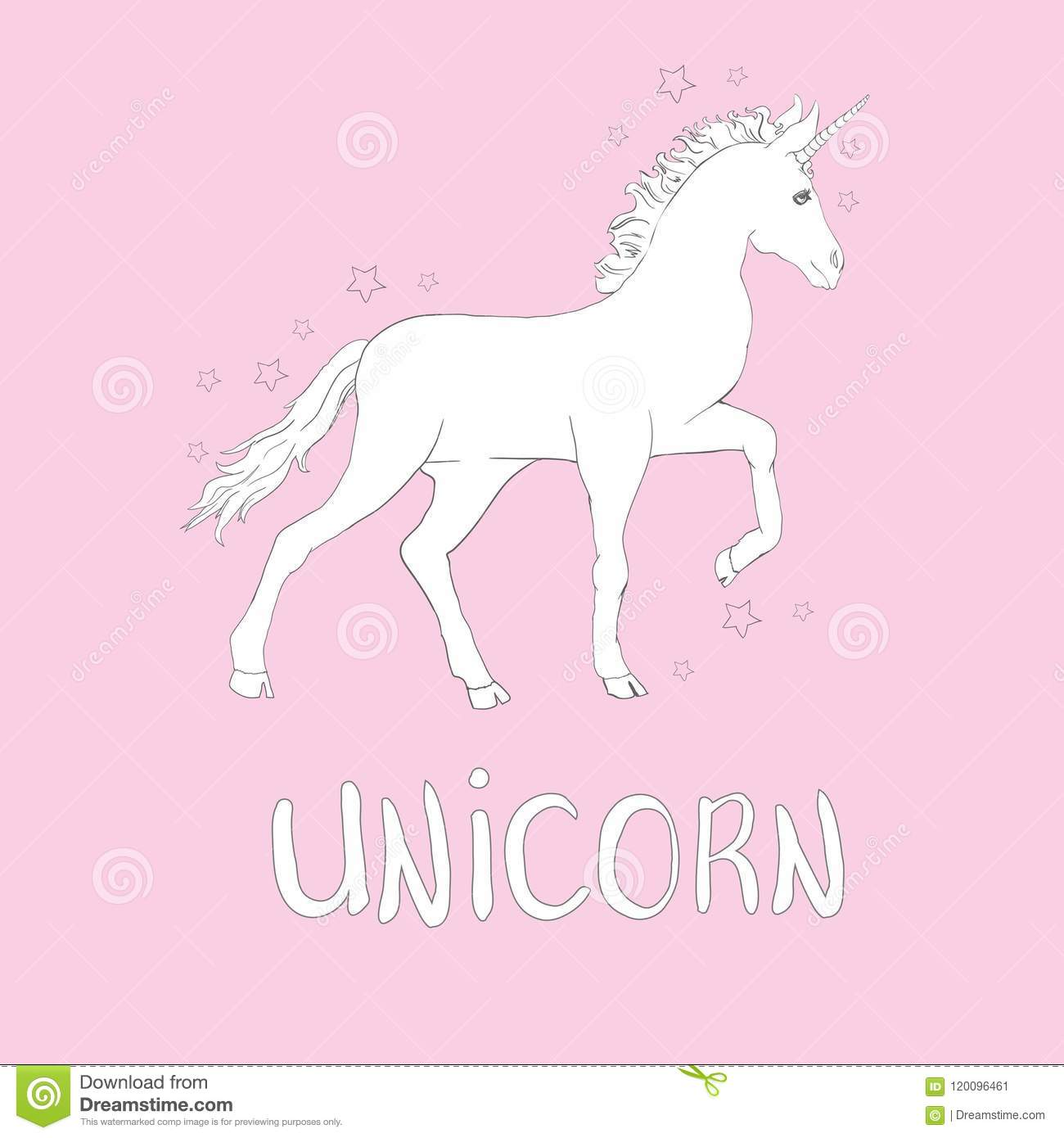 Stock Quotes Free Real Time: Unicorns Are Real Quote, Vector Illustration Drawing. Cute