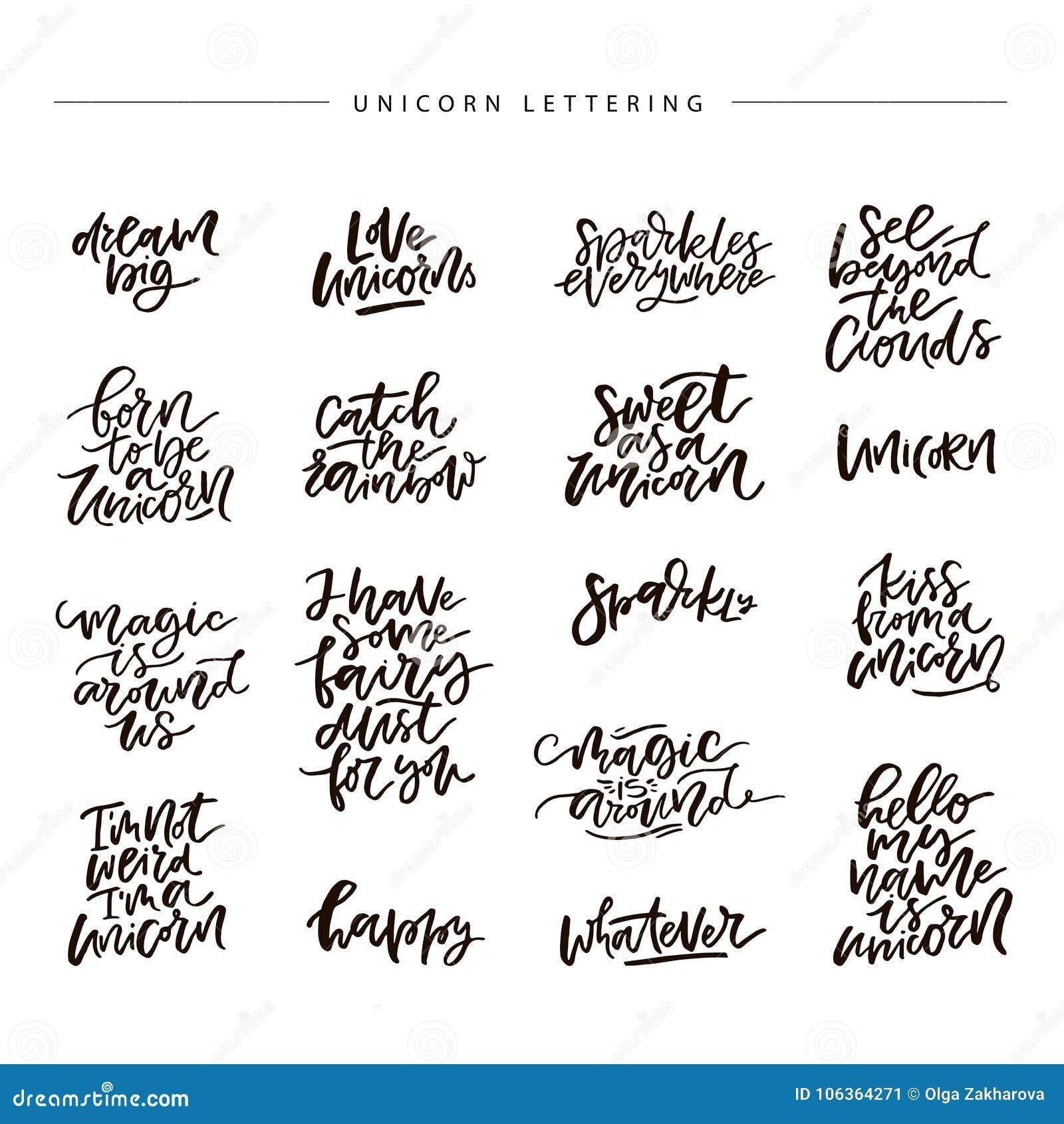 Unicorn Vector Lettering Stock Vector Illustration Of Unique