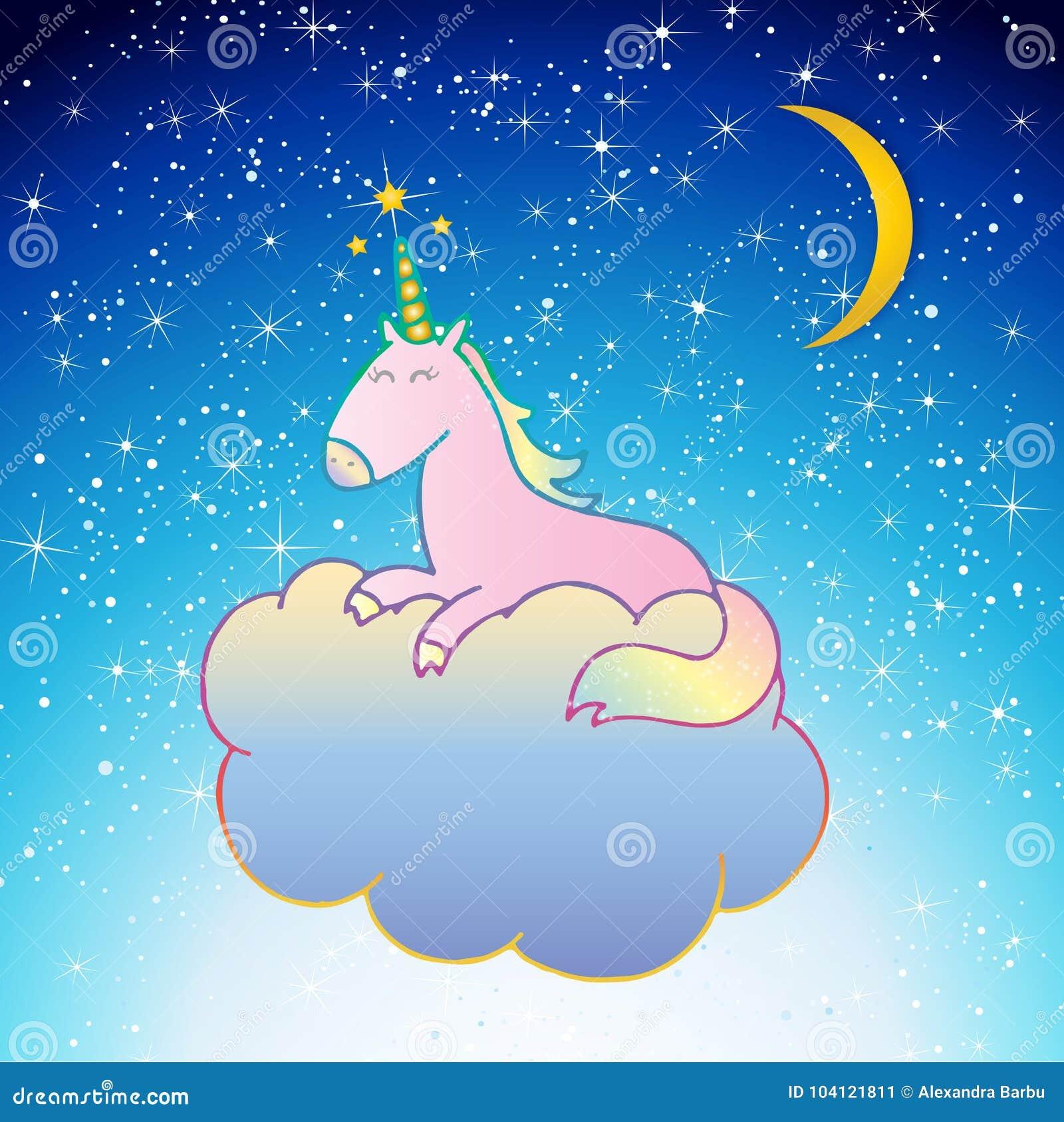 Unicorn Vetora cor-de-rosa que dorme em uma cena da noite da nuvem