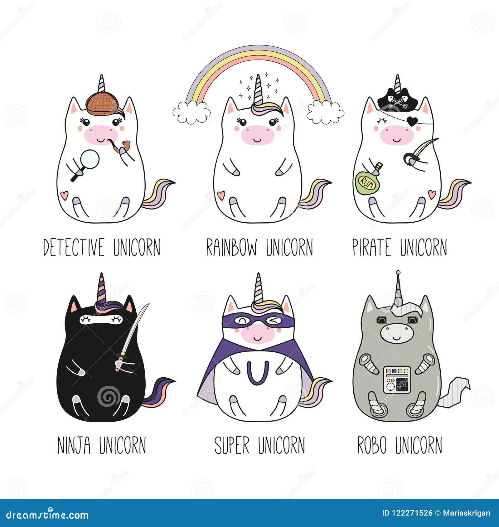Unicorni Di Kawaii Messi Illustrazione Vettoriale Illustrazione Di