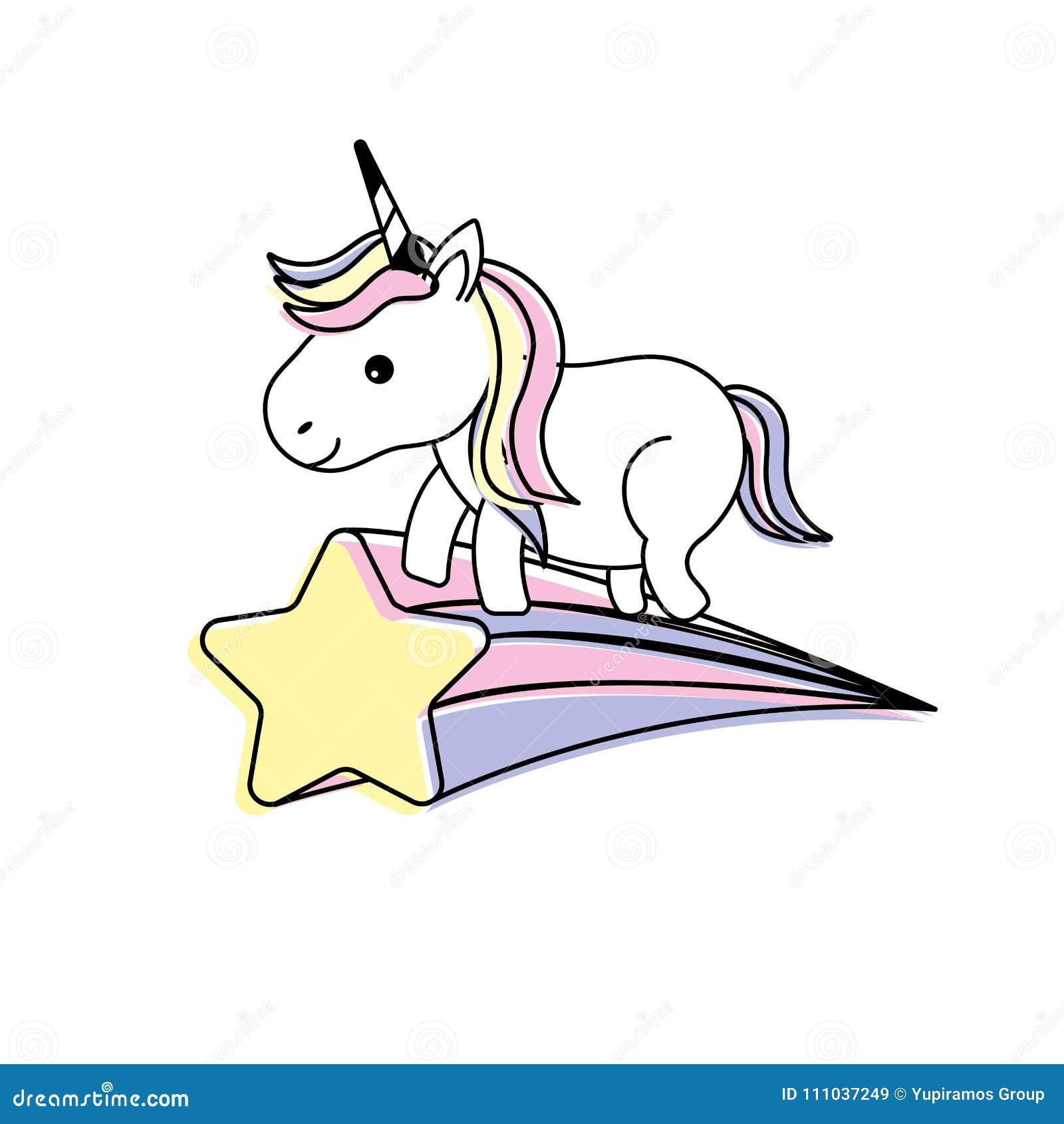 Unicornio Agradable Con El Cuerno Y La Estrella Fugaz Ilustración