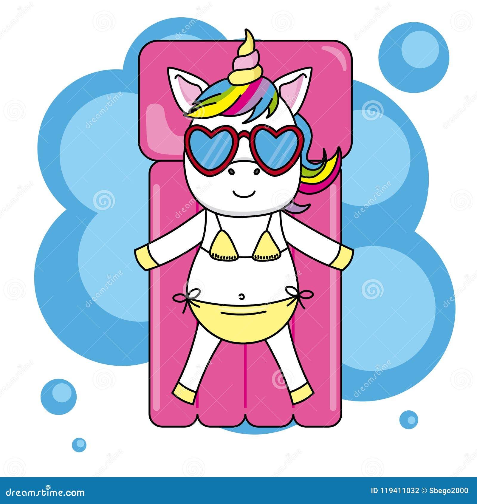 Ilustración De Las Con Sol Y Gafas El Vector Del Bikini Unicornio shBQrCxtd