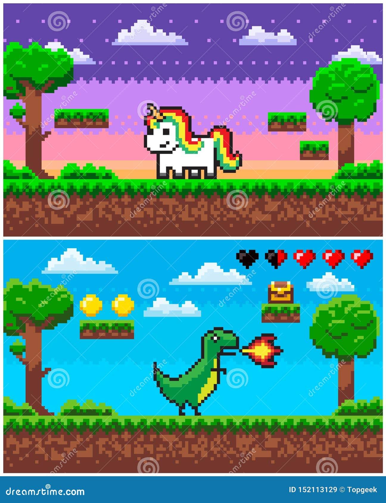 Unicornio Del Dinosaurio Graficos De Pixelated Del Juego Del Pixel Ilustracion Del Vector Ilustracion De Juego Dinosaurio 152113129 En las representaciones modernas, sin embargo, es idéntico a un caballo, solo diferenciándose en la existencia del cuerno. juego del pixel ilustracion del vector