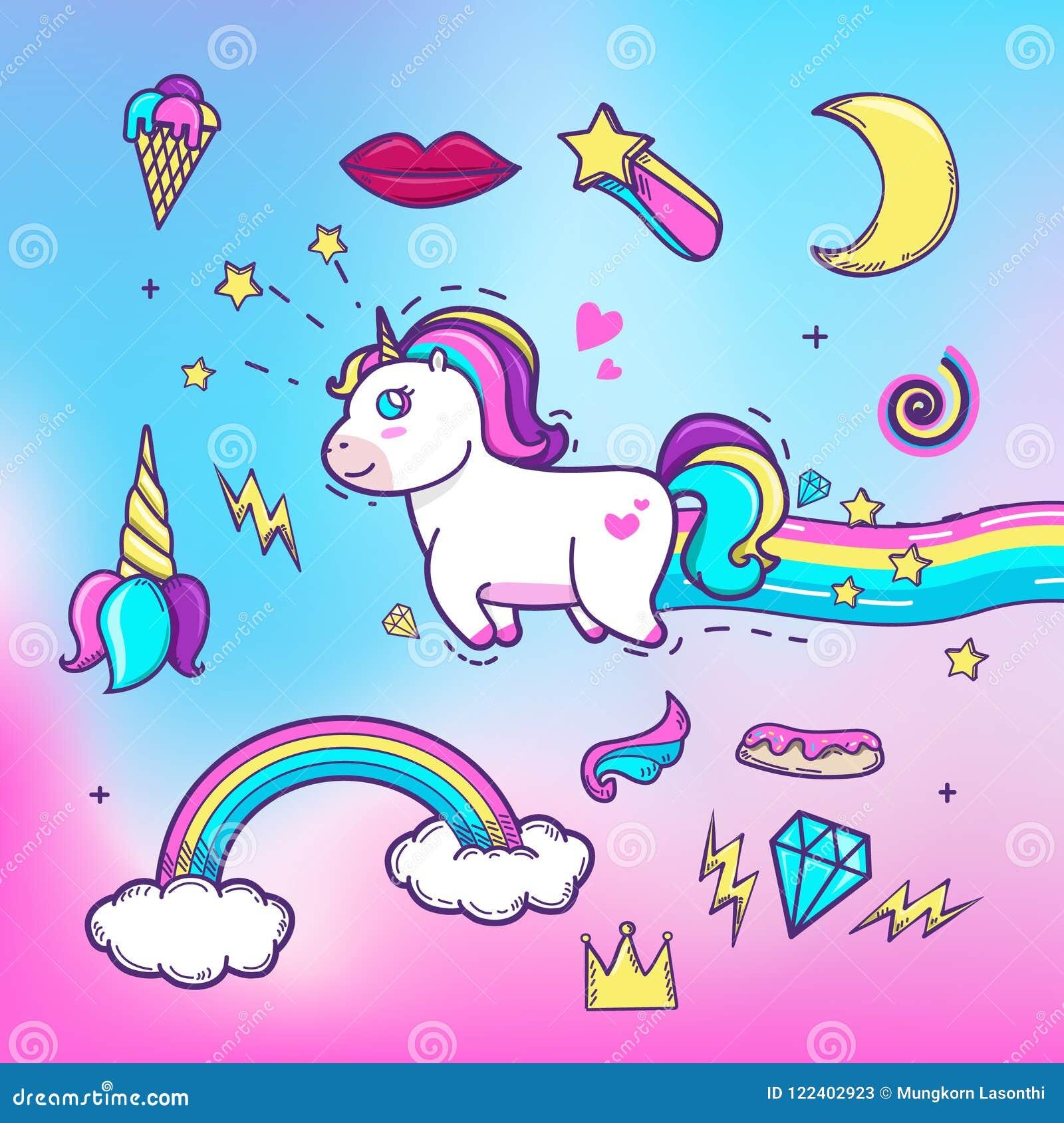 Unicornio dibujado mano de la historieta con unicornio lindo de los elementos con los elementos