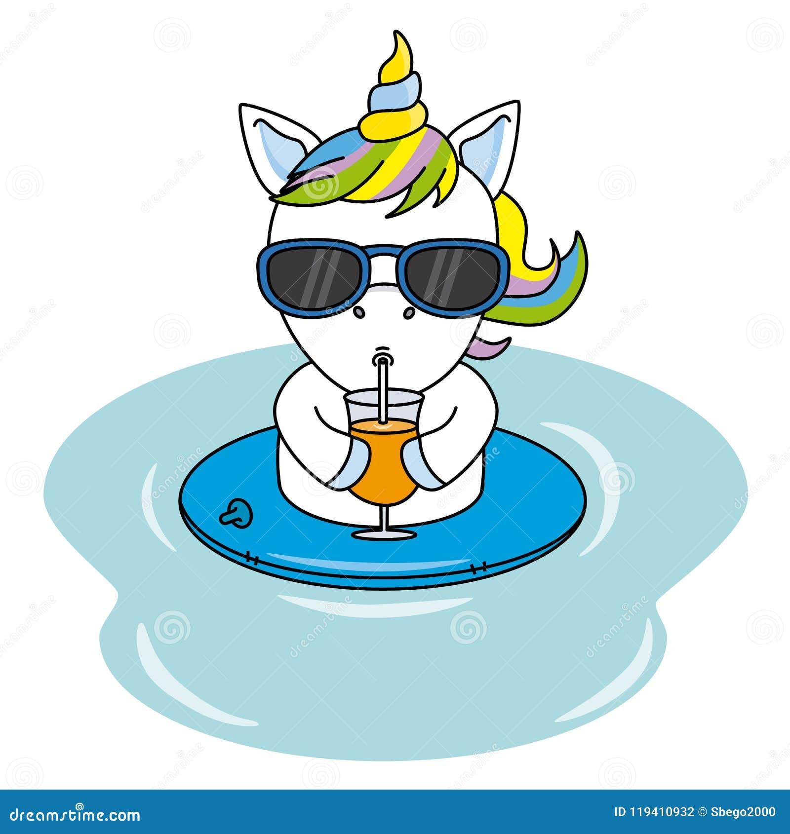 La Con Gafas De Jugo Fresco Un Unicornio Consumición Las Sol Y rxWBoedC