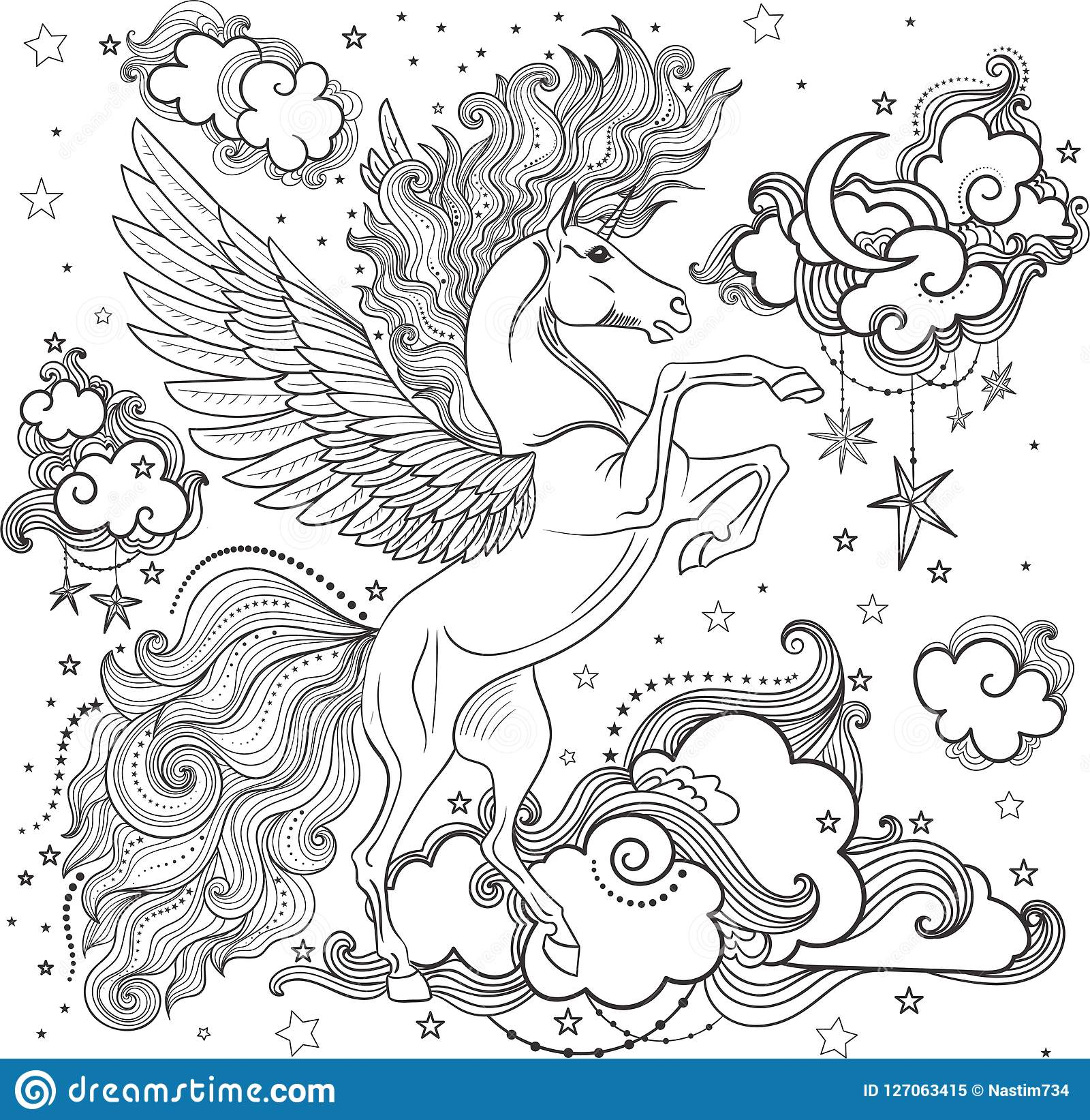 Unicornio Hermoso Entre Las Nubes Ilustración Del Vector