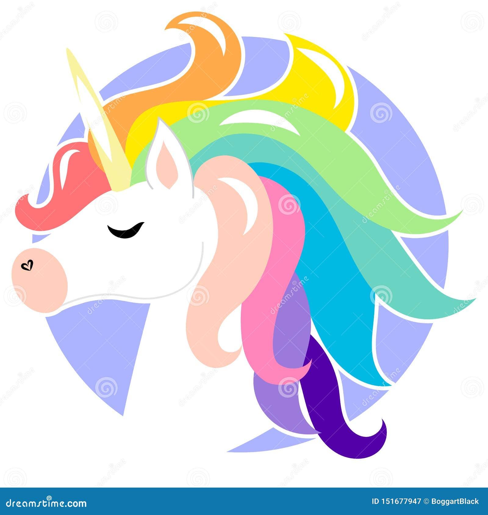 Unicornio lindo de la cara con el pelo del arco iris Ejemplo del personaje de dibujos animados del vector Diseño para la tarjeta