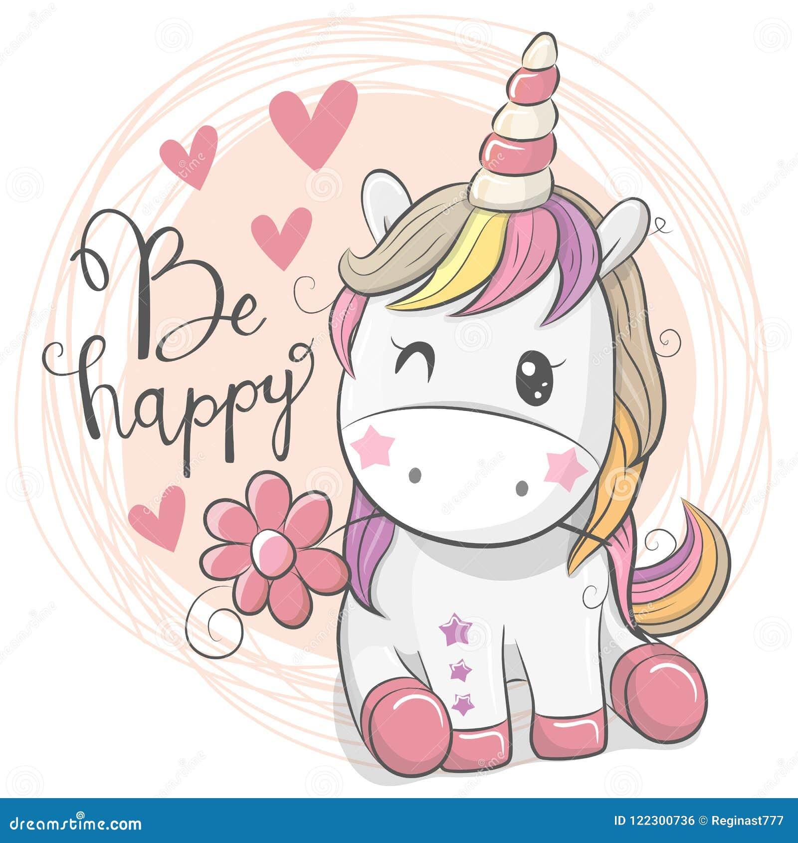 826e3fe65561f Tarjeta de felicitación con unicornio lindo de la historieta con la flor