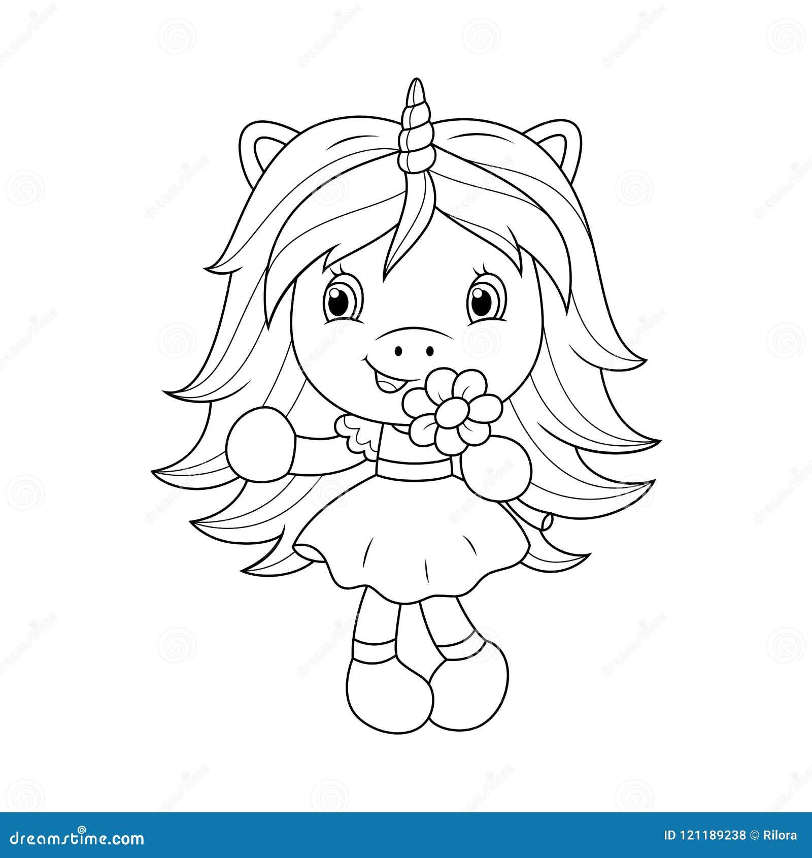 Unicornio Lindo Del Bebé Que Sostiene La Flor, Página Que Colorea ...