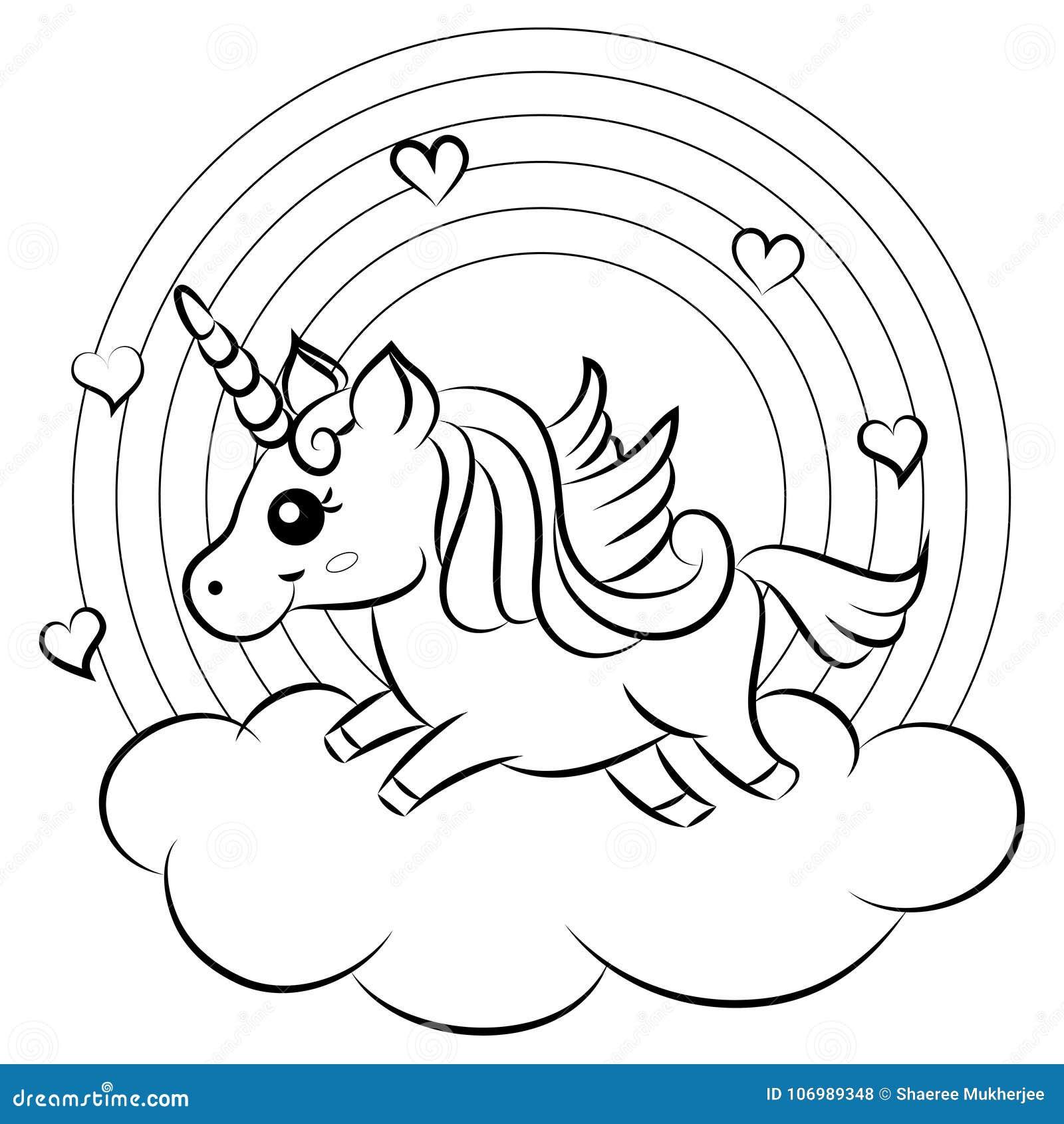 Unicornio Lindo Del Vector De La Historieta Con La Página Del
