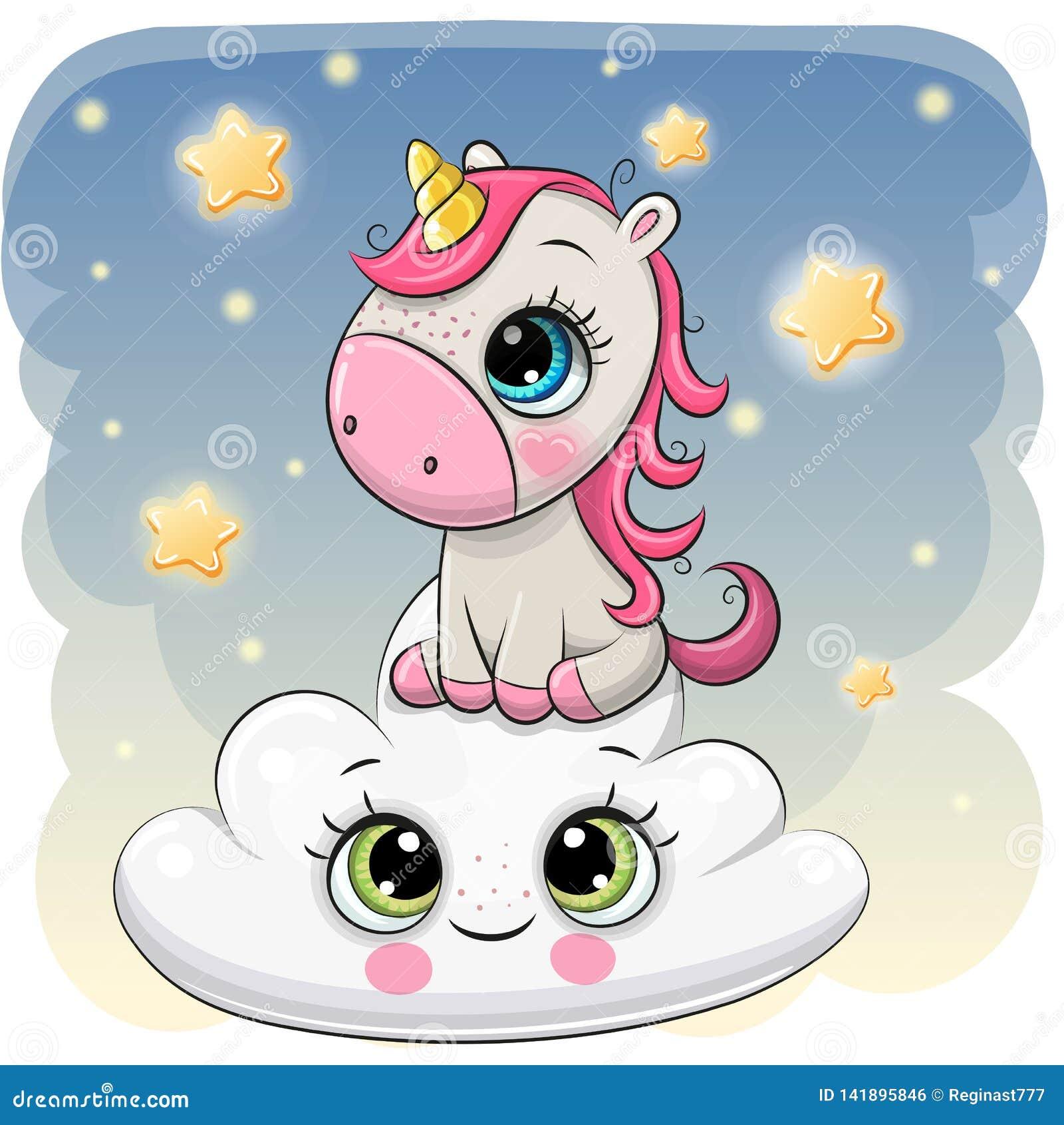 Unicornio lindo a en la nube