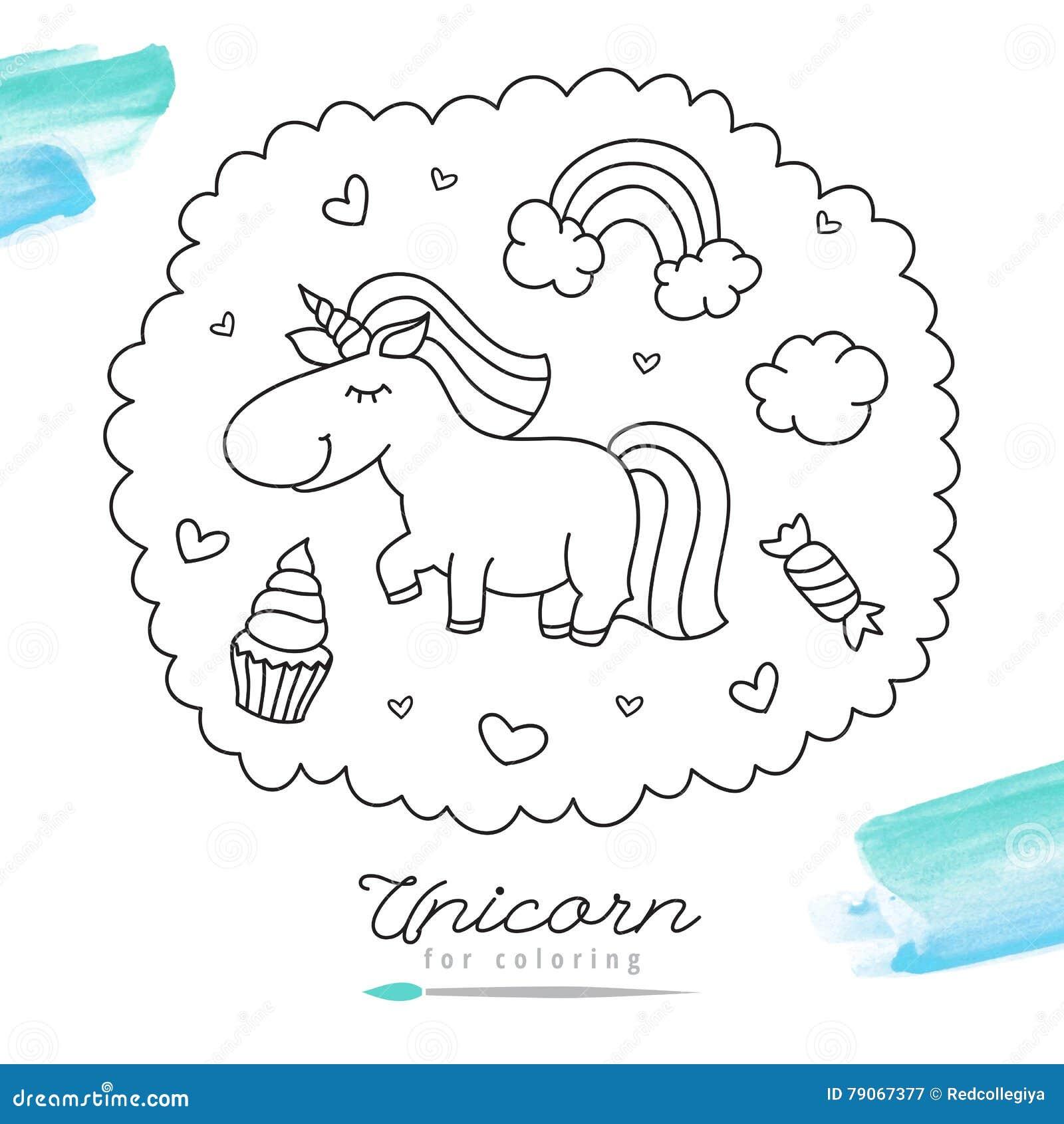 Unicornio para colorear ilustración del vector. Ilustración de ...