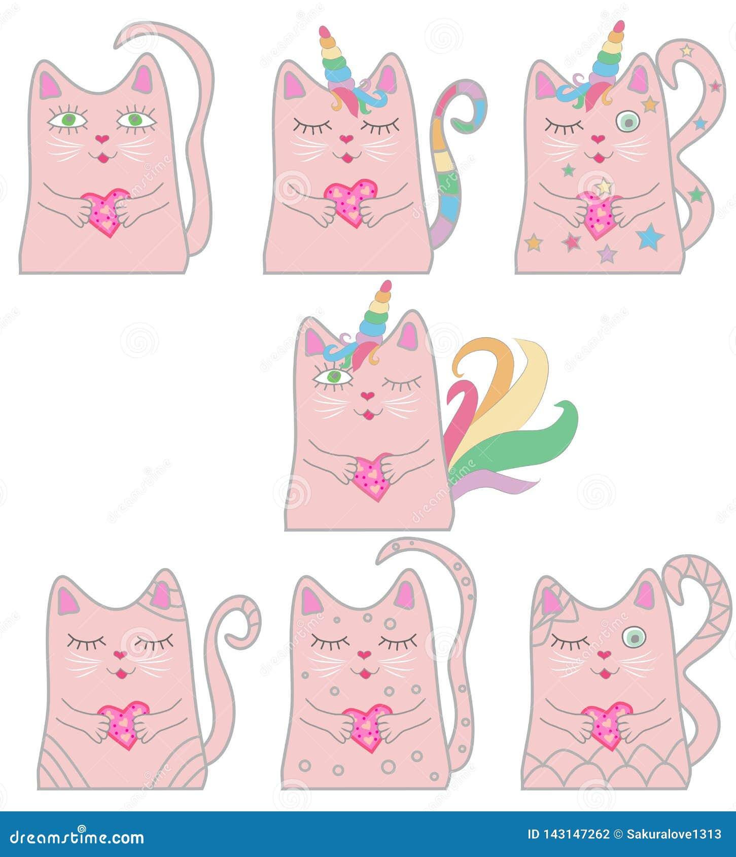Unicornio rosado divertido del gato del sistema grande Concepto de milagros y de magia