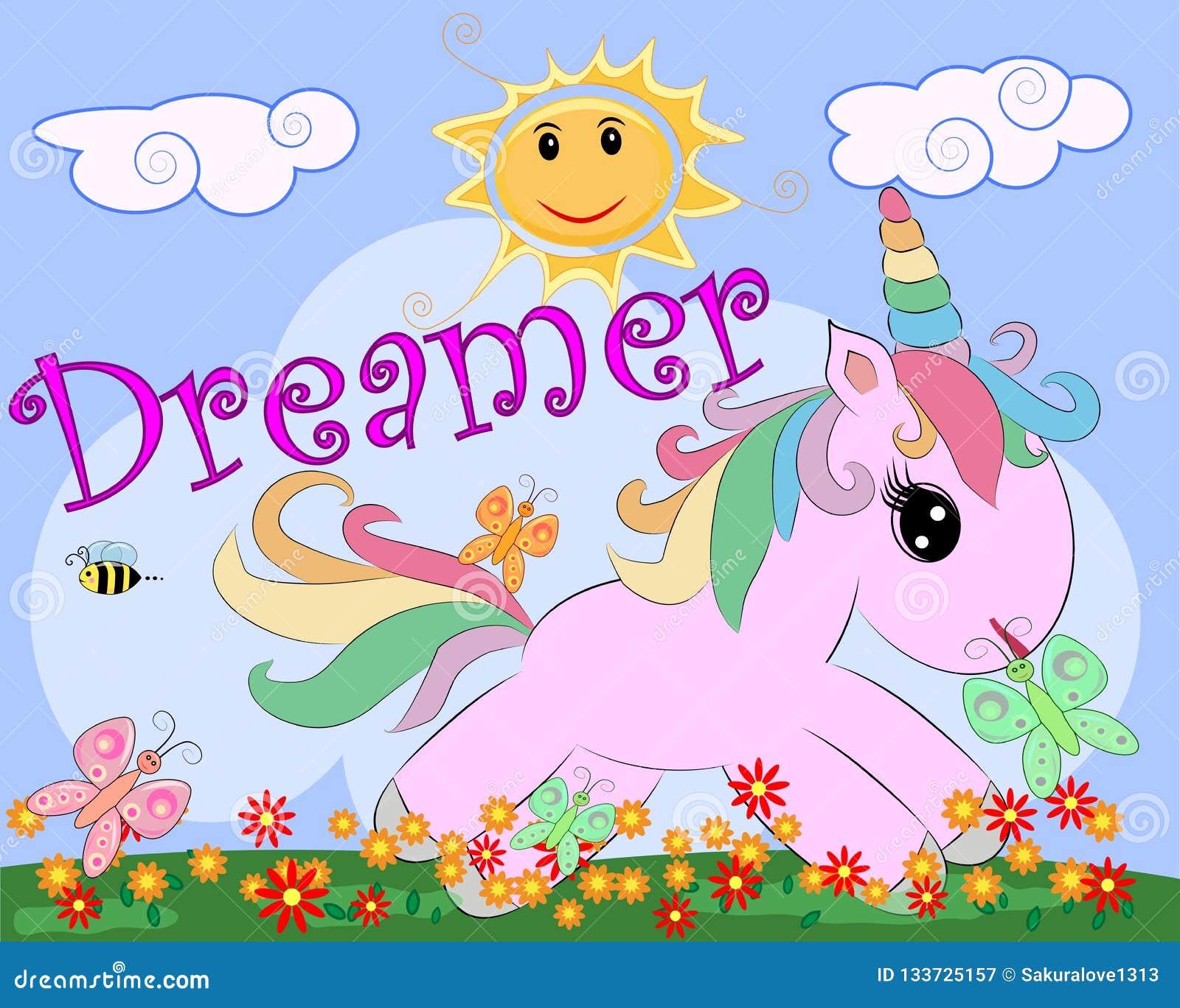Unicornio rosado en un prado con las flores, arco iris, sol Ejemplo del niño, carácter del hada-cuento, soñador