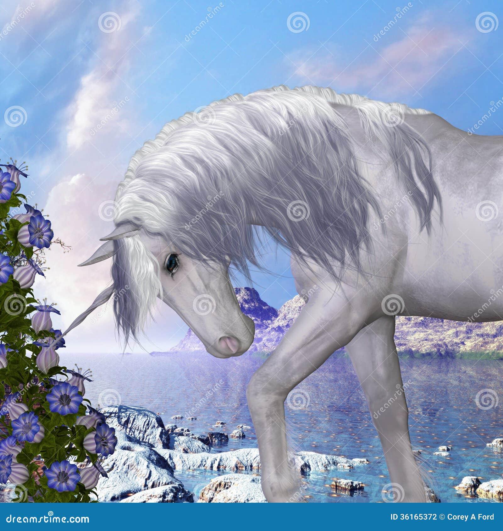 Unicornio y flores de Bell azules