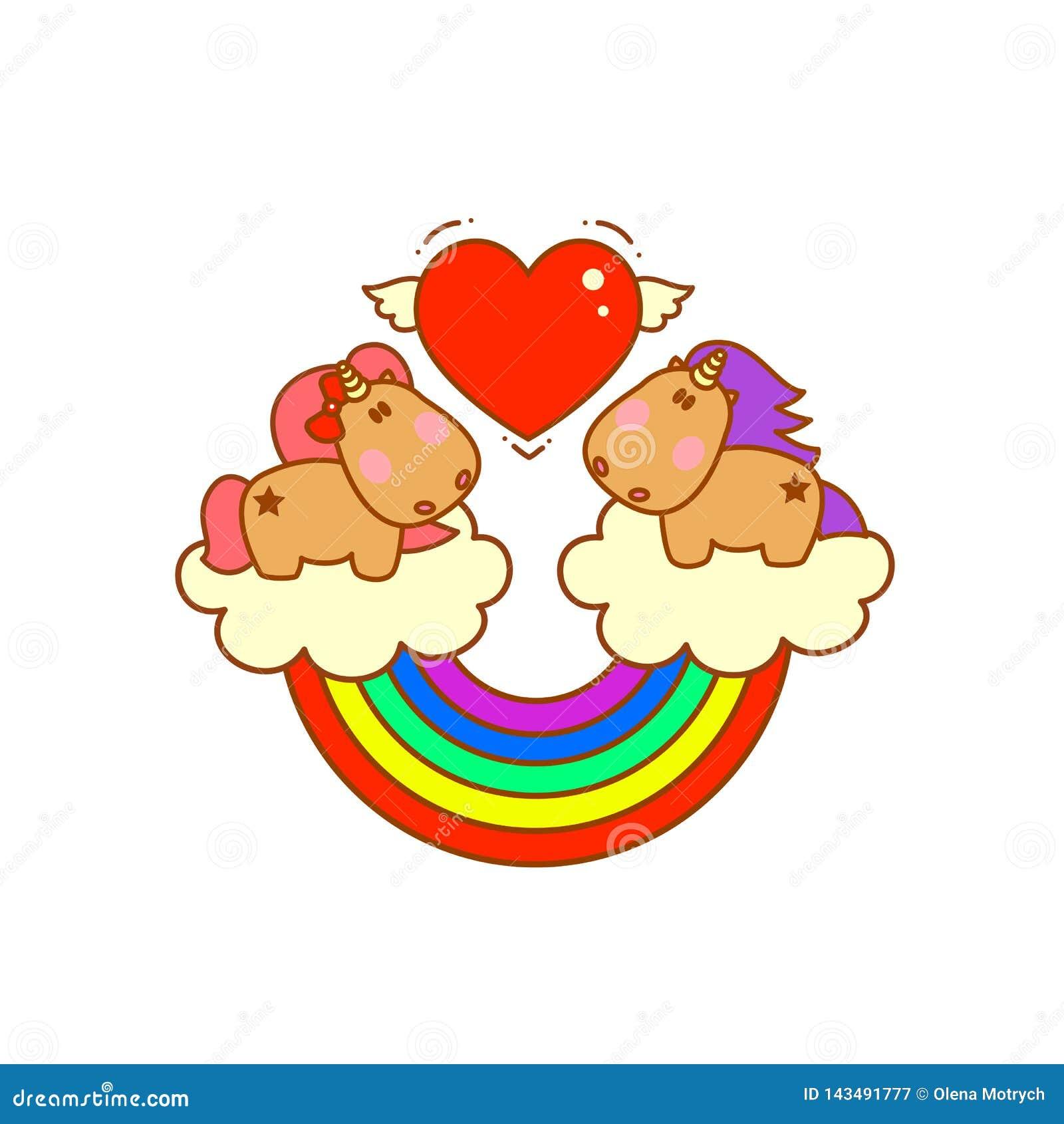 Unicornios mágicos lindos en las nubes con caída del arco iris en amor