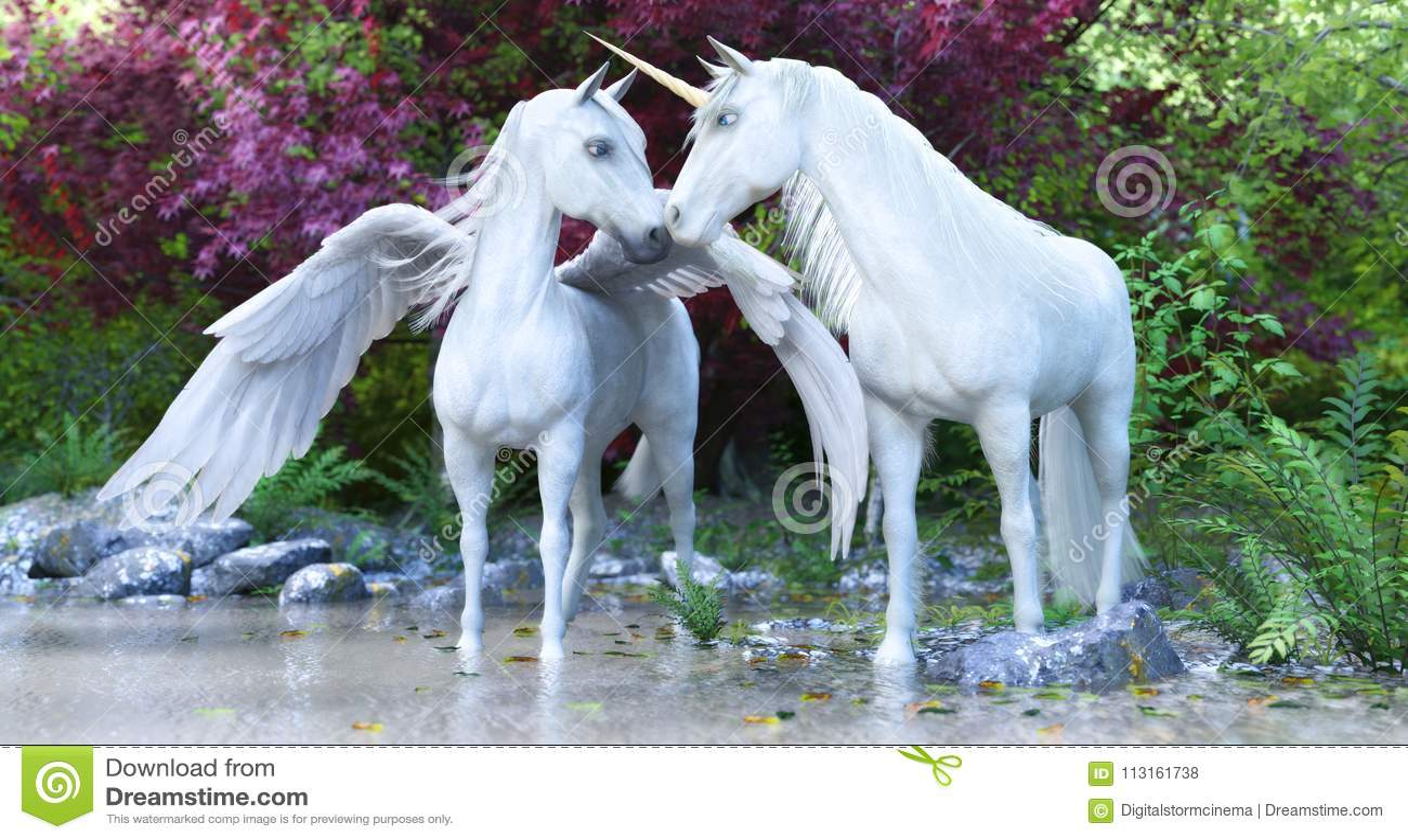 Unicorno bianco mitico e Pegaso di fantasia in una foresta incantata