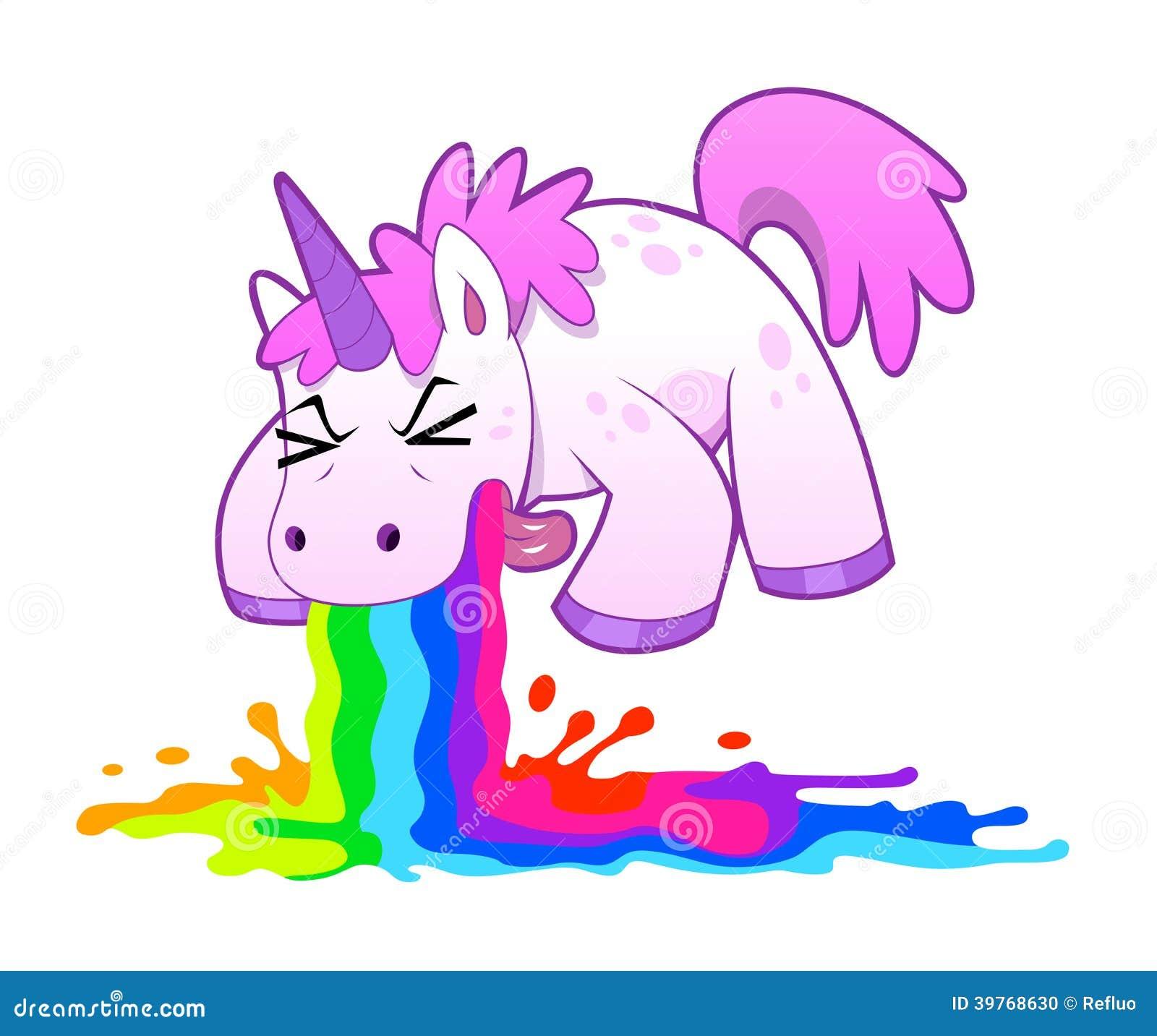 Unicorno che vomita arcobaleno