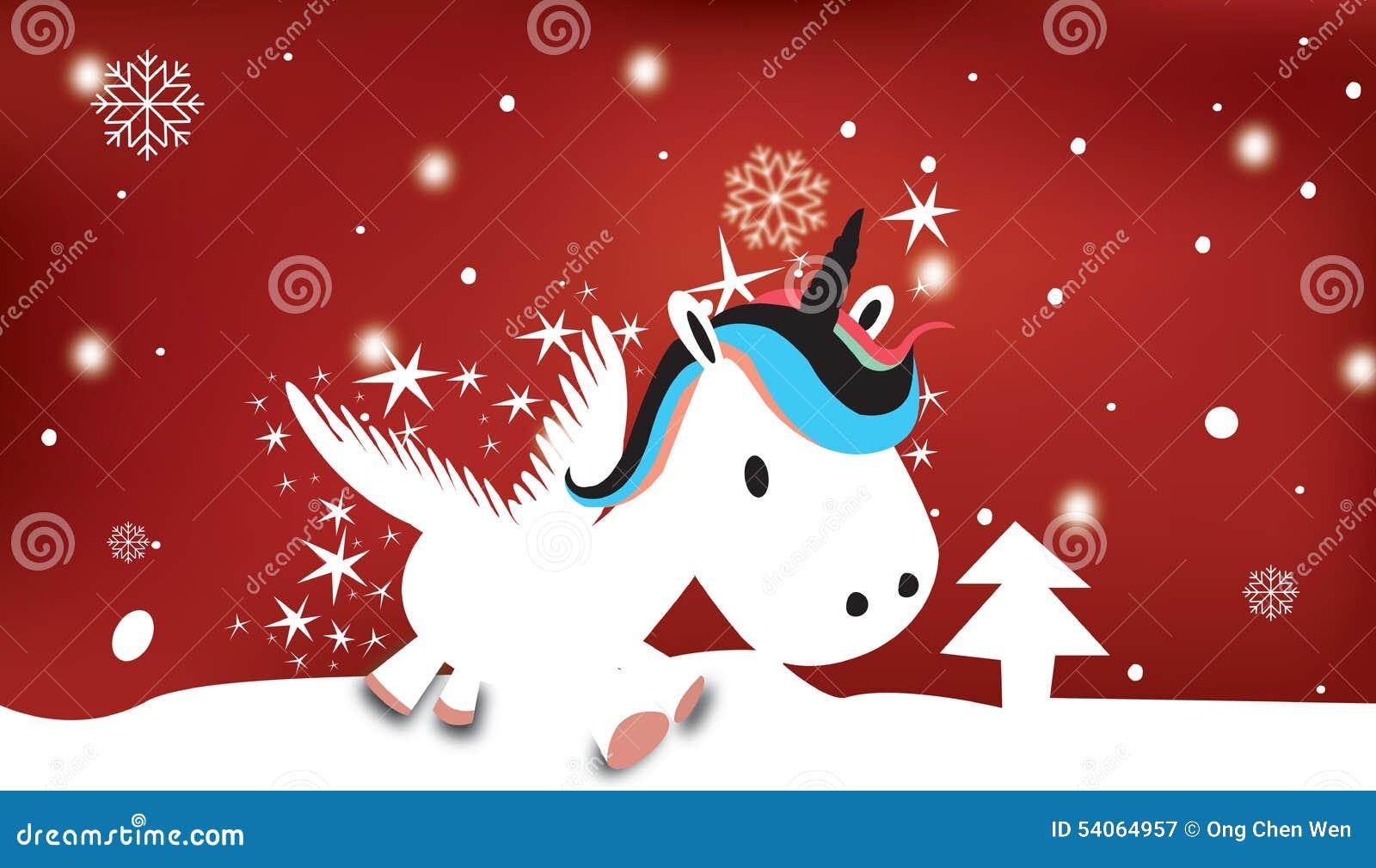 Unicorno Con Il Tema Nevoso Di Natale Illustrazione Di