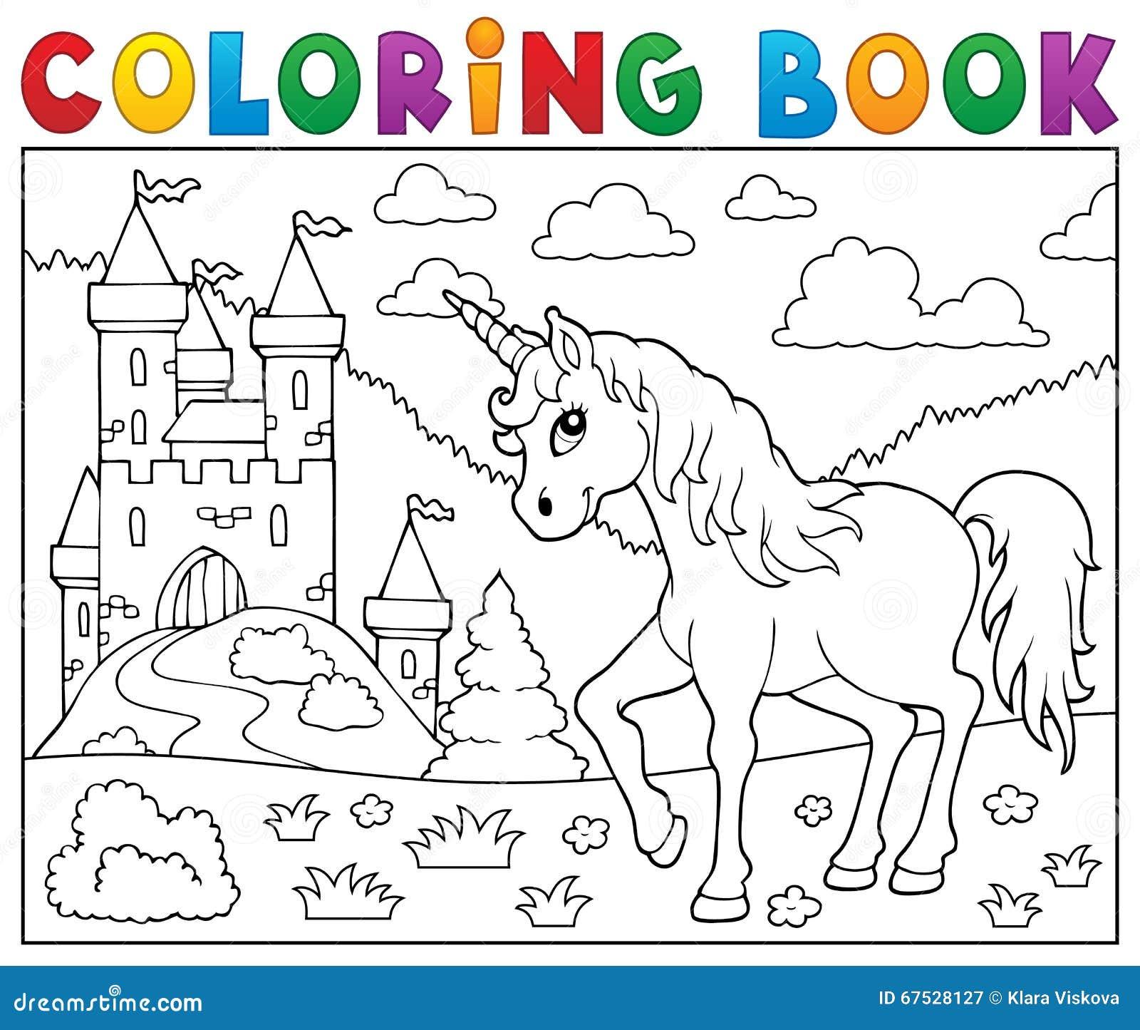 Unicorno del libro da colorare vicino al castello - Toddler libro da colorare ...