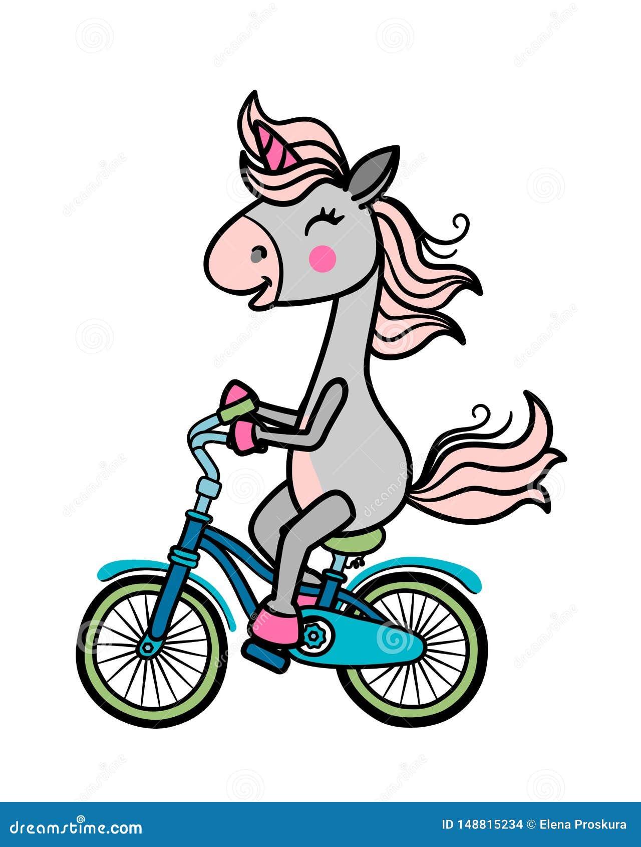 Unicorno su una bicicletta