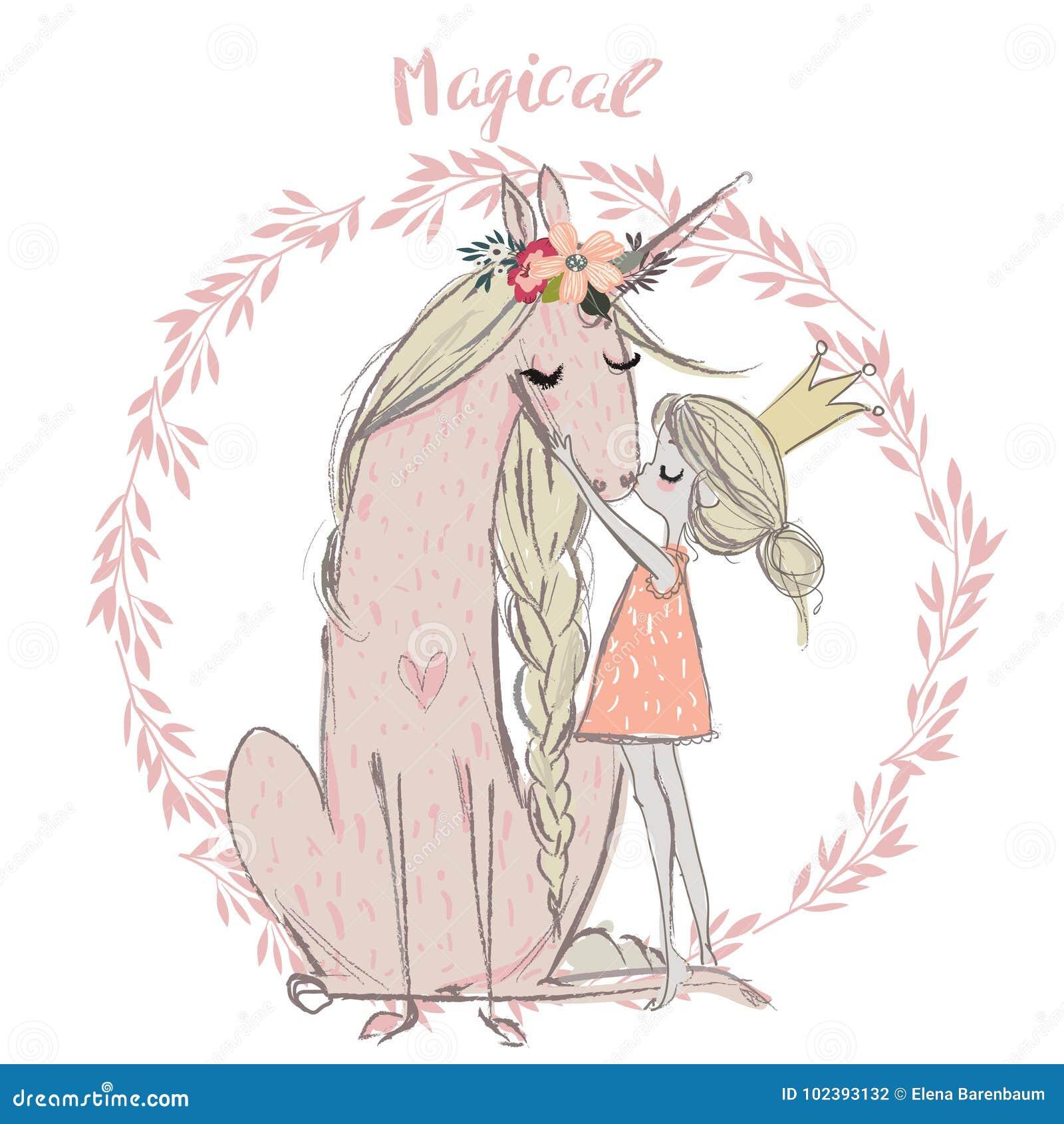 Unicorno sveglio con principessa