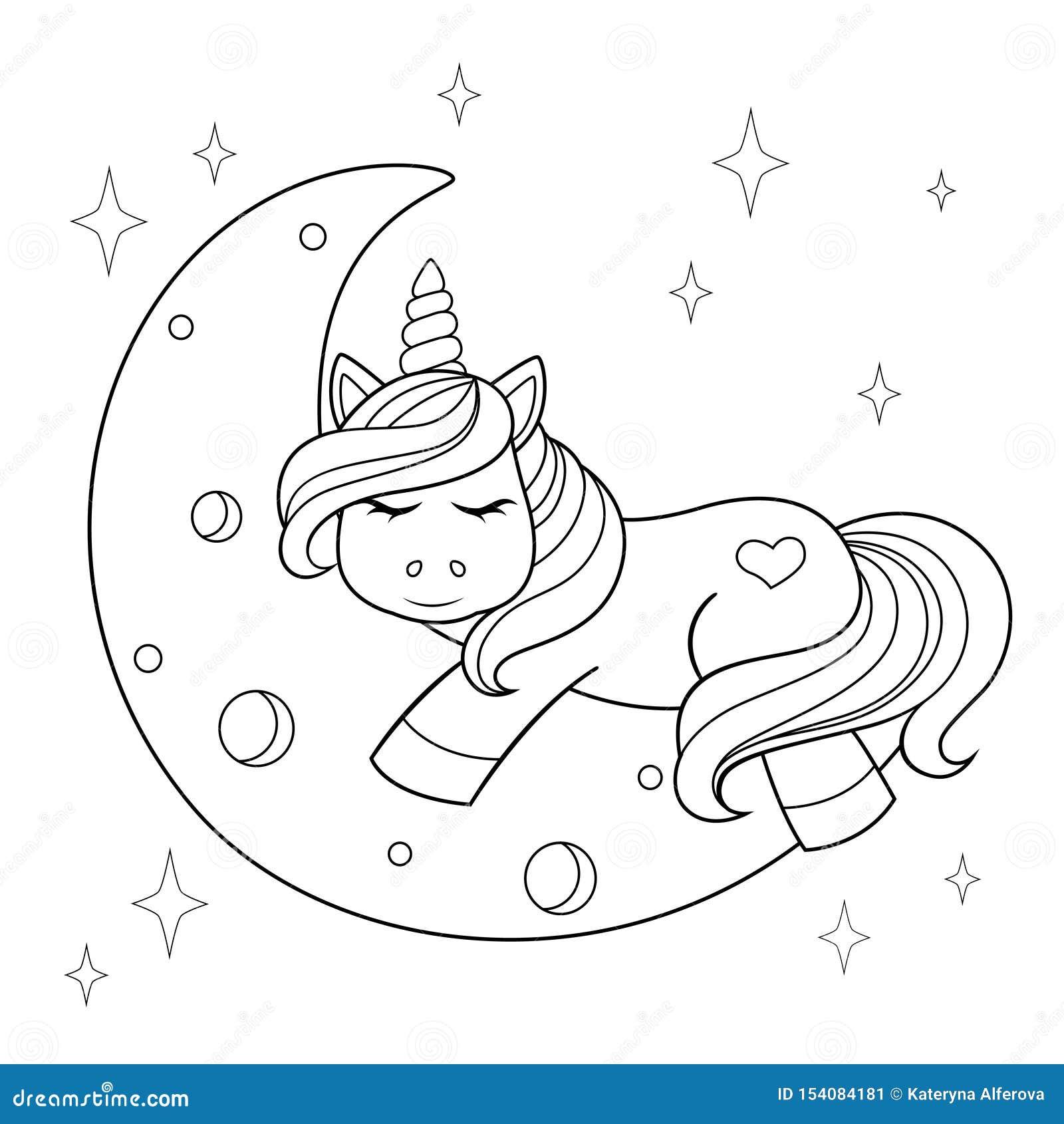 Unicorno Sveglio Del Fumetto Che Dorme Sulla Luna Illustrazione In Bianco E Nero Per Il Libro Da Colorare Illustrazione Vettoriale Illustrazione Di Bambino Stampa 154084181