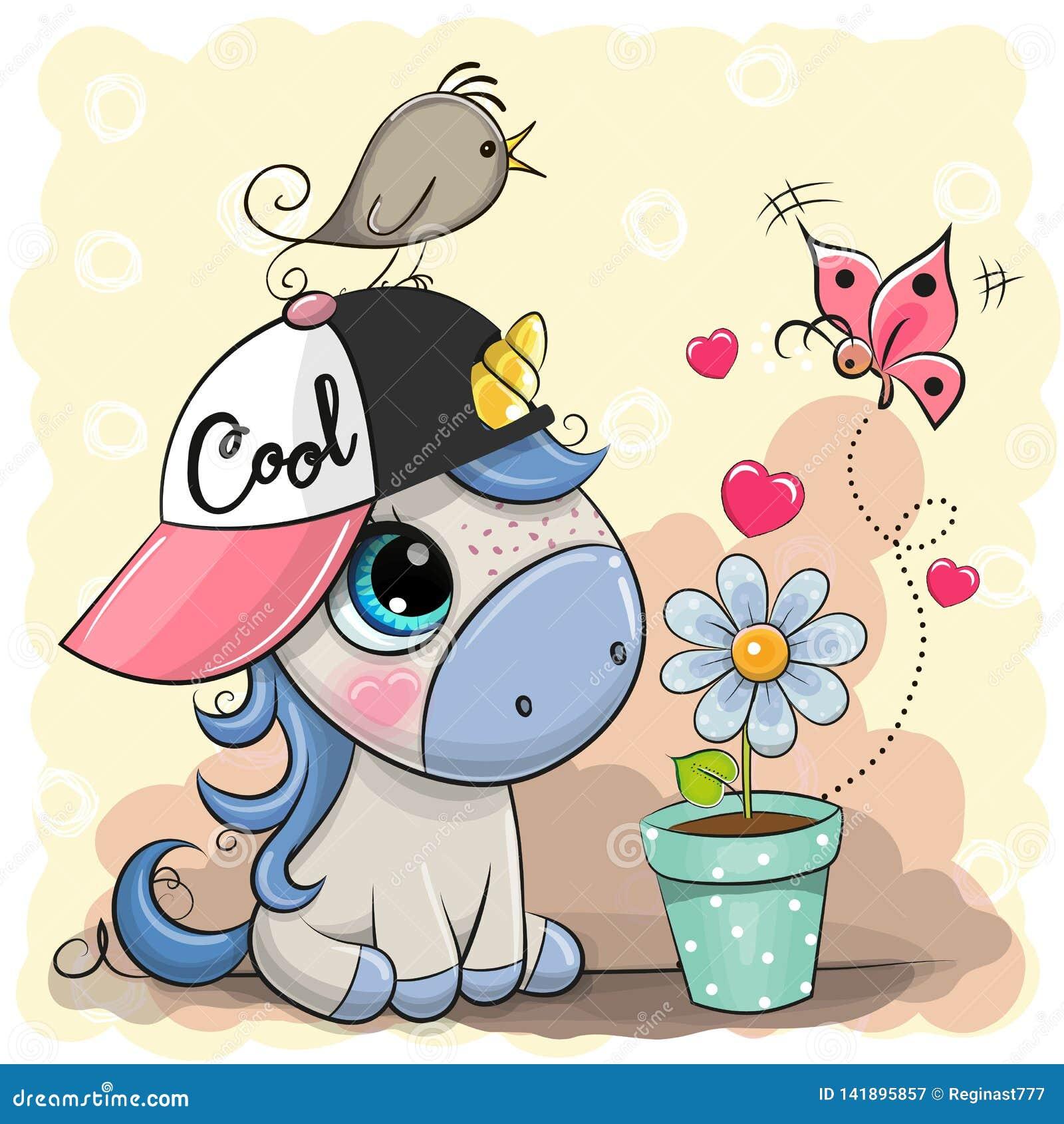 Unicorno sveglio del fumetto della cartolina d auguri con il fiore