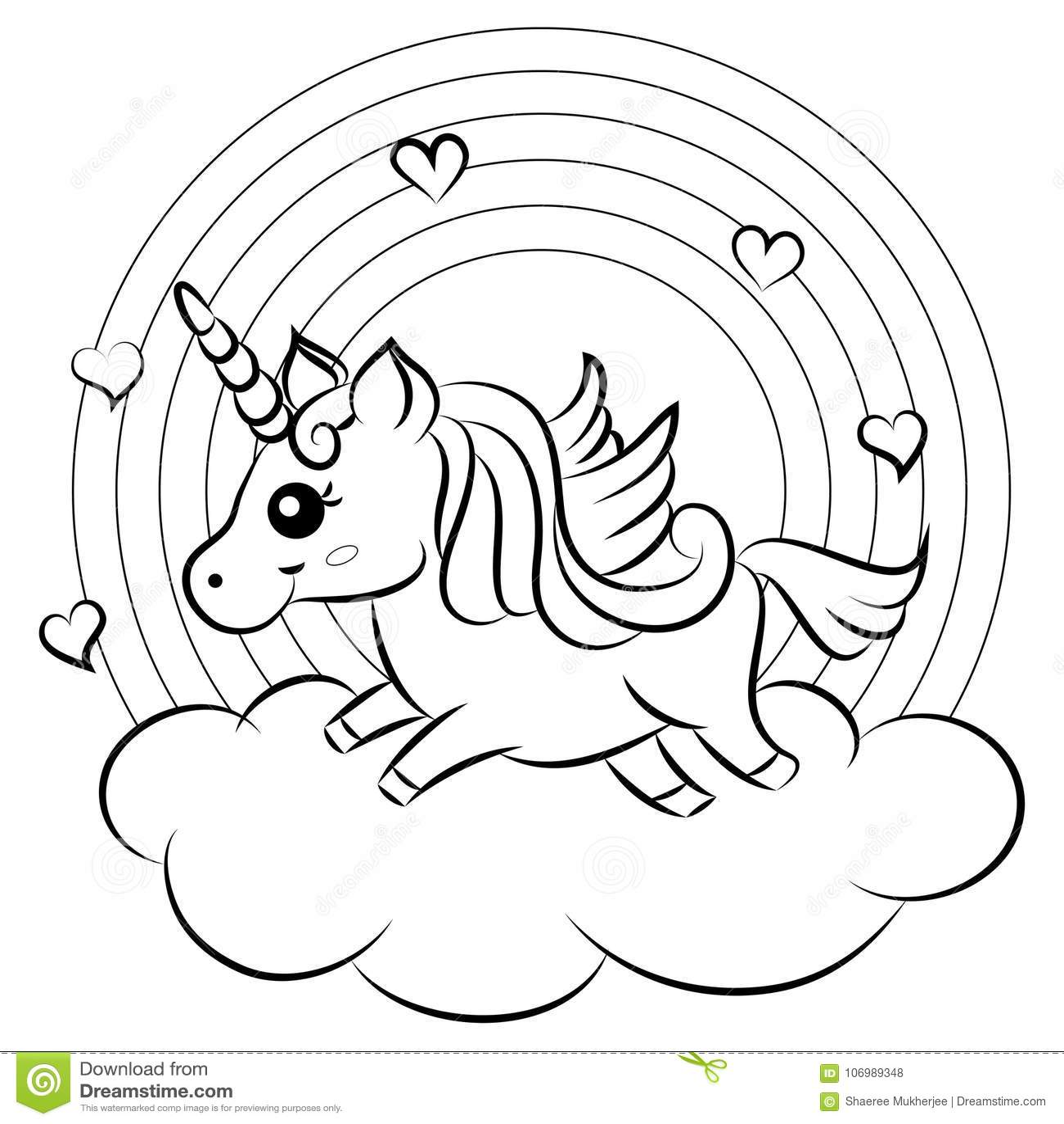 Unicorno sveglio di vettore del fumetto con la pagina di coloritura dell arcobaleno