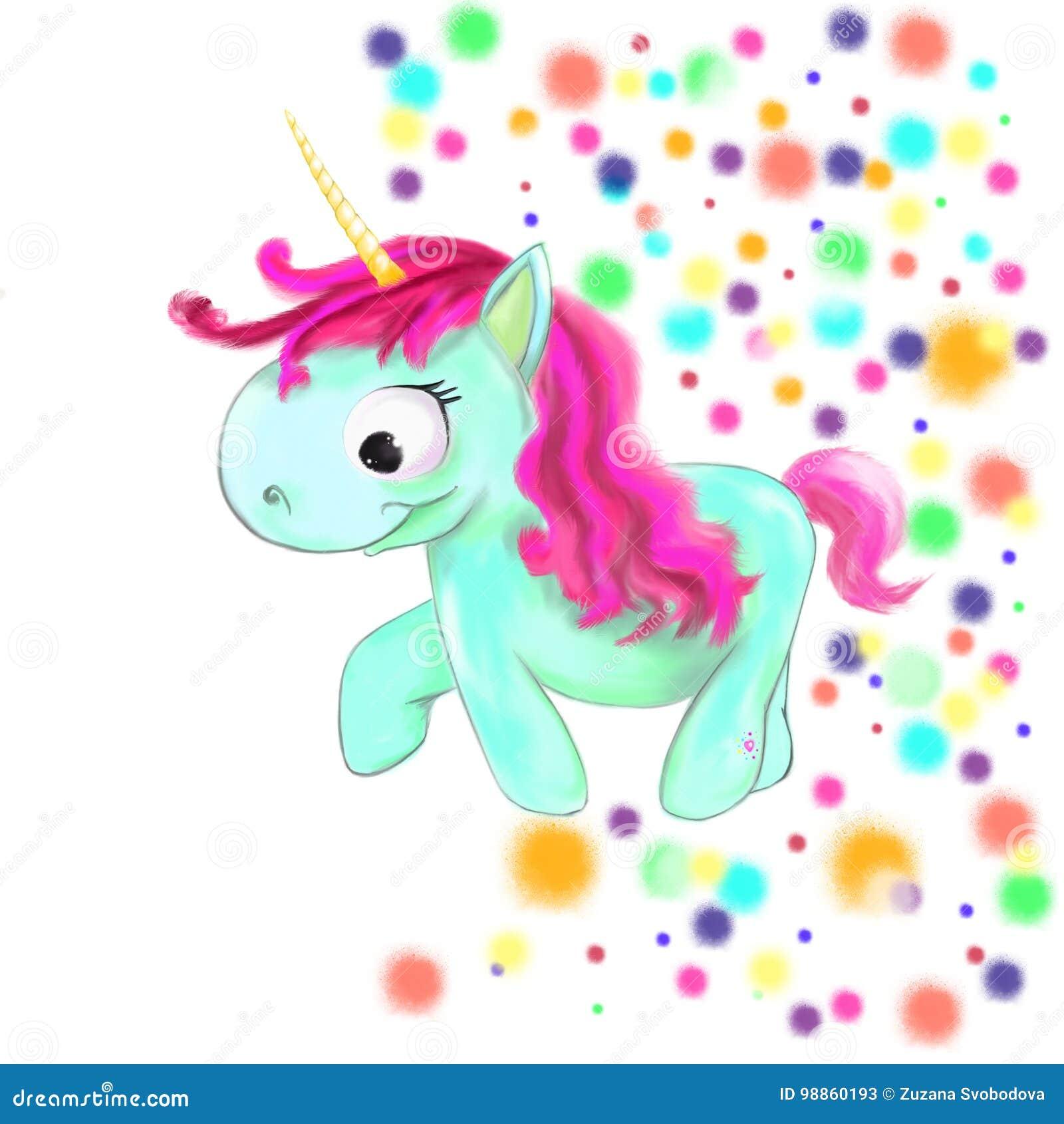 Unicorno Sveglio Illustrato Con I Punti Colorati Su Fondo Bianco