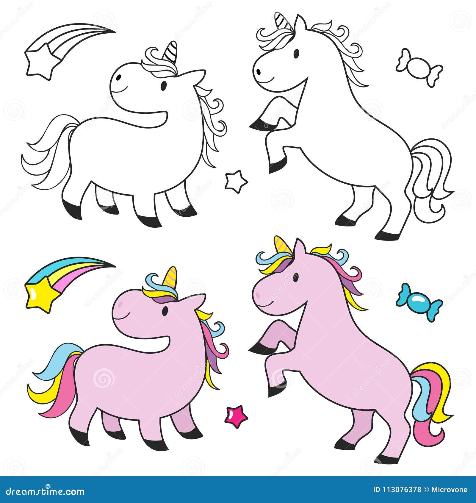 Unicorno Sveglio Messo Per Il Libro Da Colorare Dei Bambini