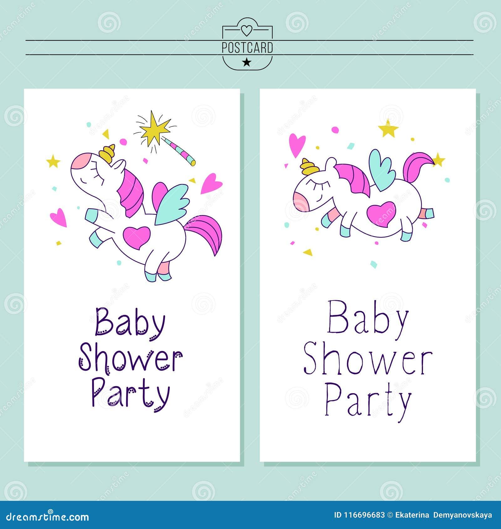 Unicorns Baby Shower Illustration Little Cute Unicorns With Wings