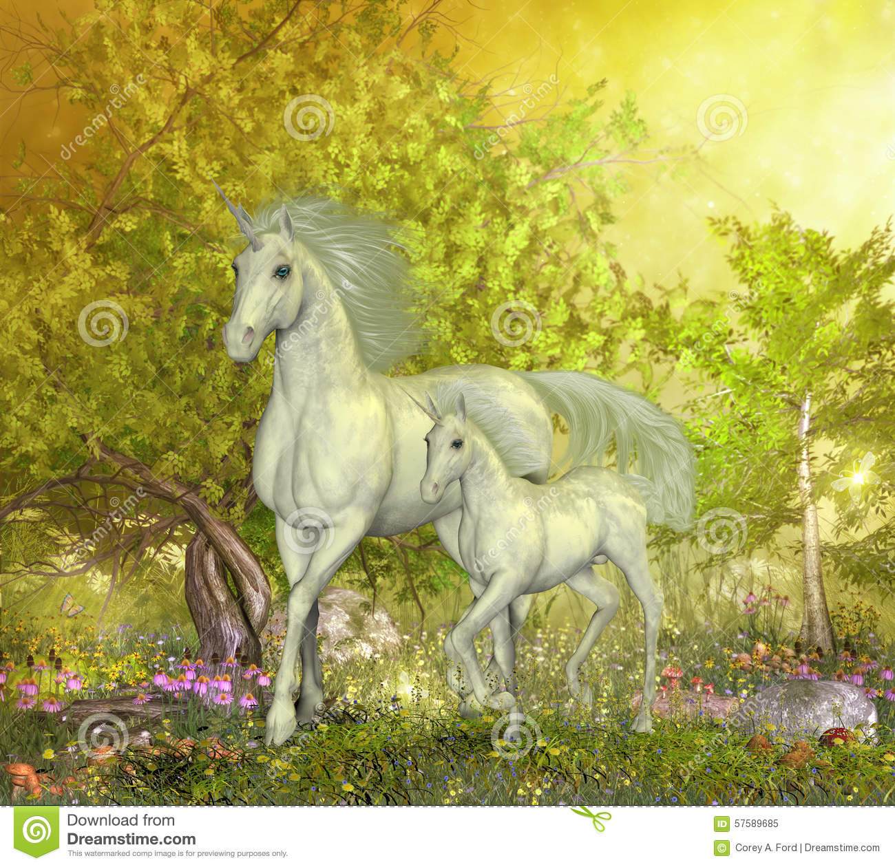 Unicorns In Glen Stock Illustration Image 57589685