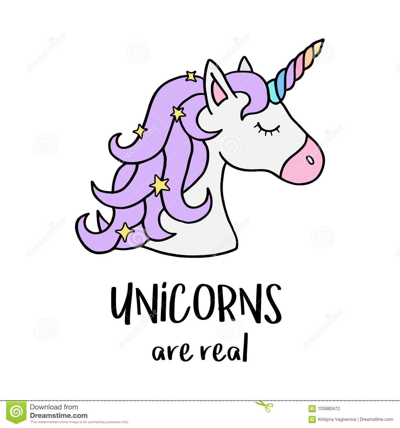 Stock Quotes Free Real Time: Unicorns Are Real, Unicorn`s Head With Rainbow Horn Stock
