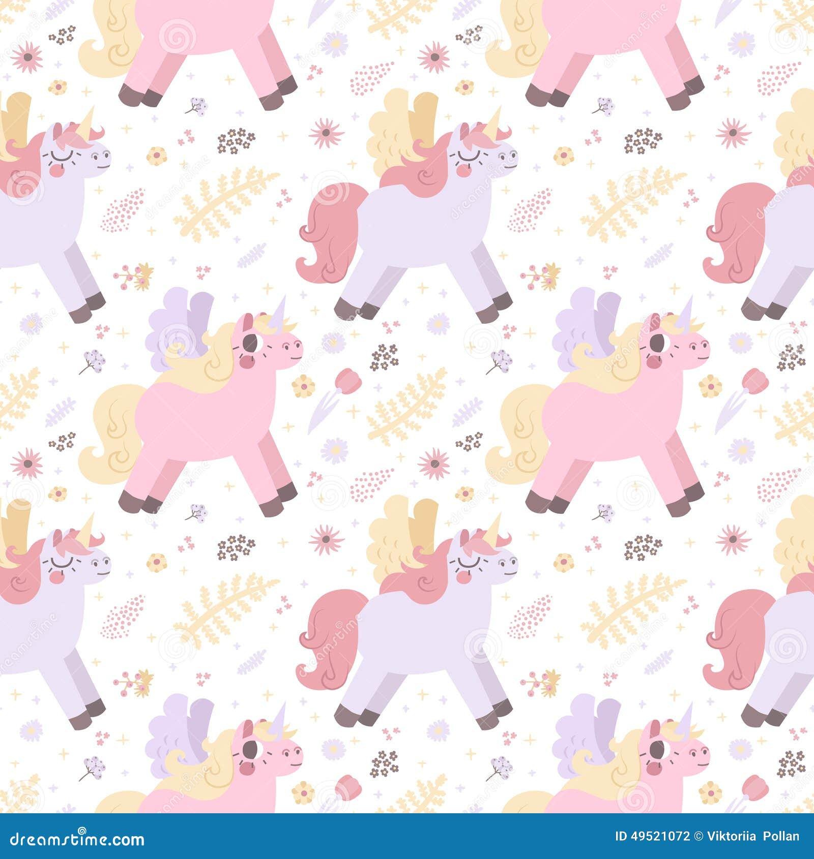 Unicorns Seamless Vector Pattern (pastel Colors) Stock ...