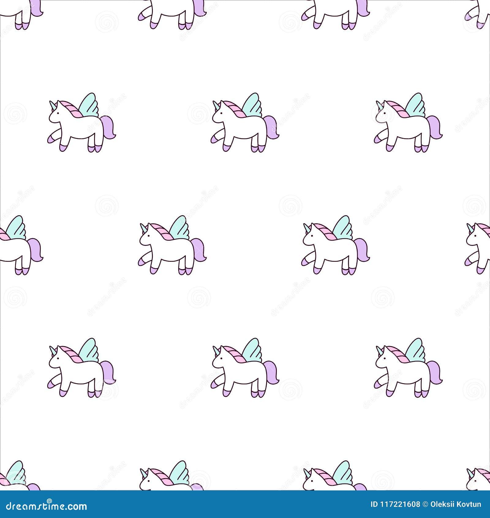 Unicorns Vector Illustration Seamless Pattern Rainbow Unicorns On Colorful Background Cute Wallpaper Stock Vector Illustration Of Fairytale Fantasy 117221608
