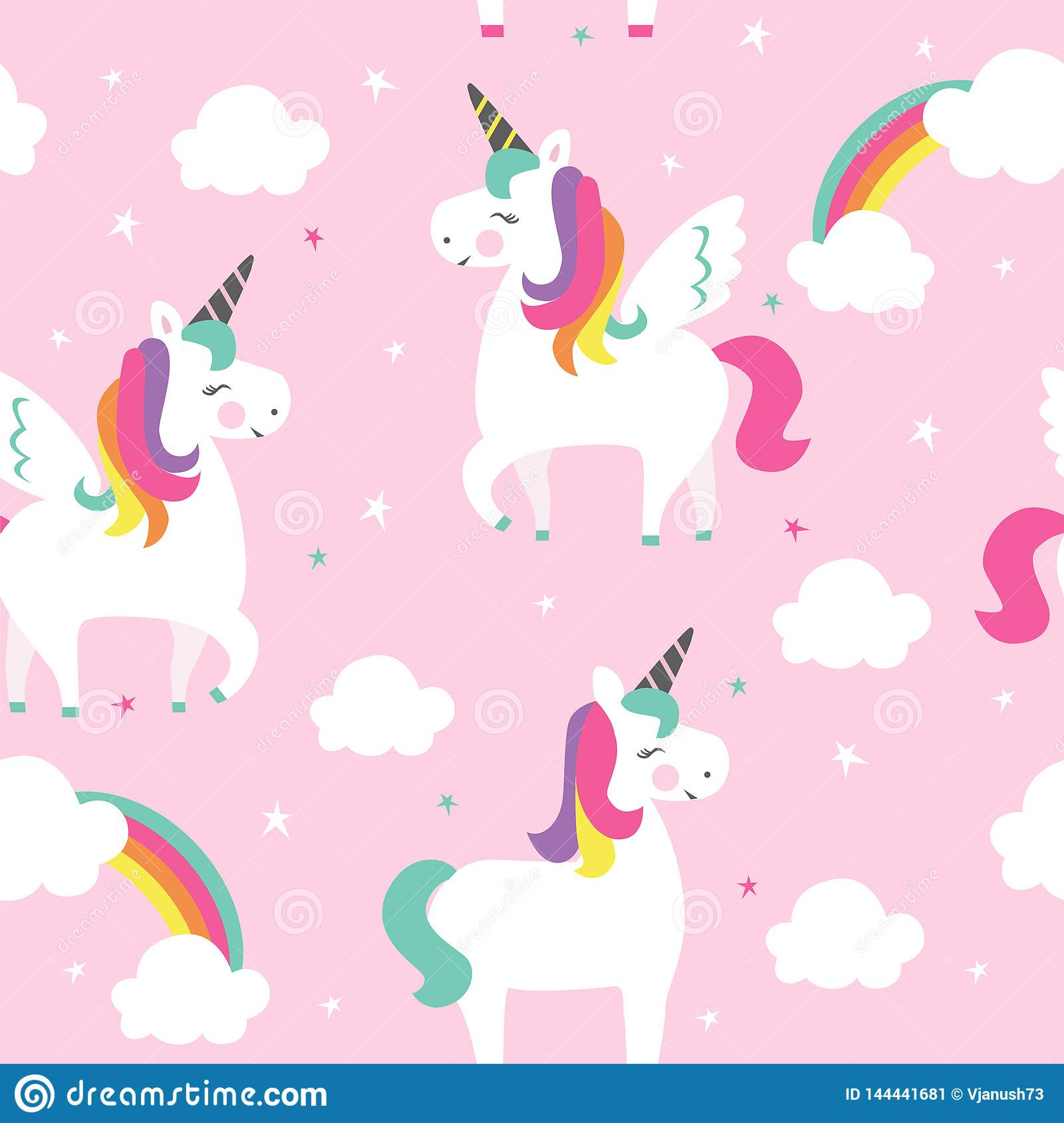 Unicorns with wings, stars and clouds.