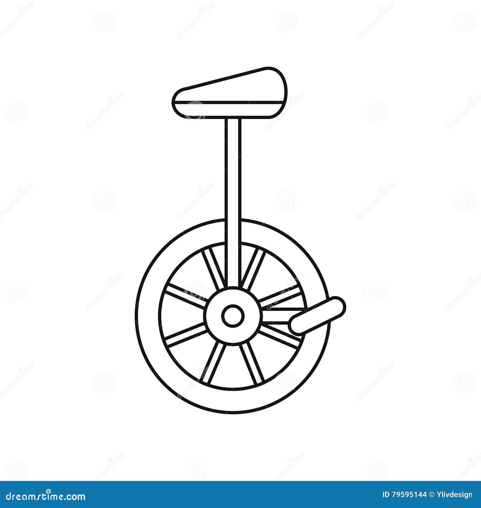 Line Art Unicycle : Unicycle one wheel bicycle icon outline style stock