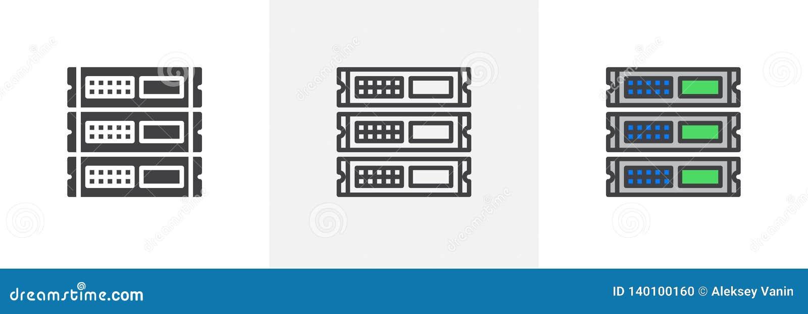 Unidade da cremalheira, ícone dos servidores