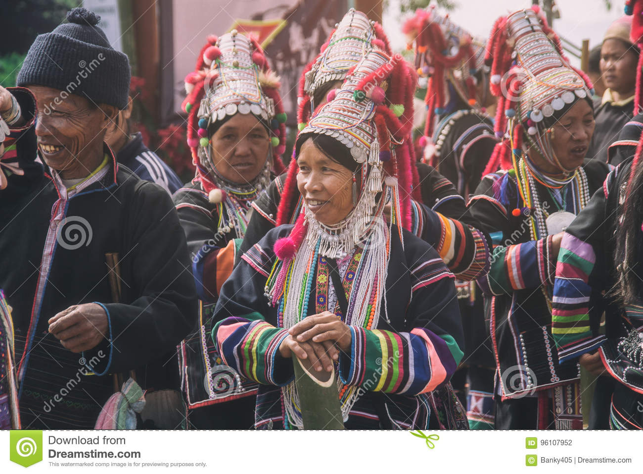 Unidentified Akha indigenous hill tribe woman in traditional clothes. Asian ethnic tribal group. Popular tourist travel destinatio