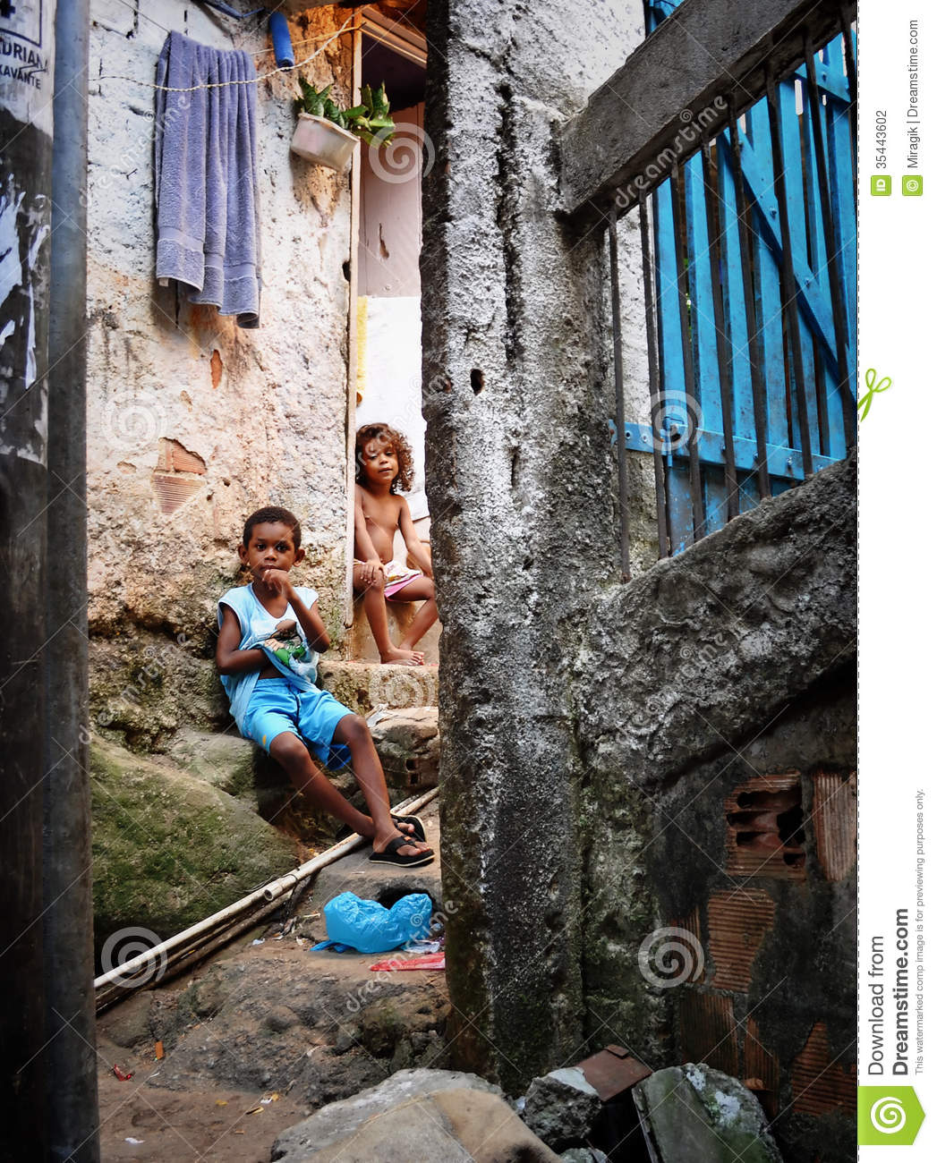 Unidentified children in Favela Rocinha on Feb 7, 2010. Rocinha is the ...